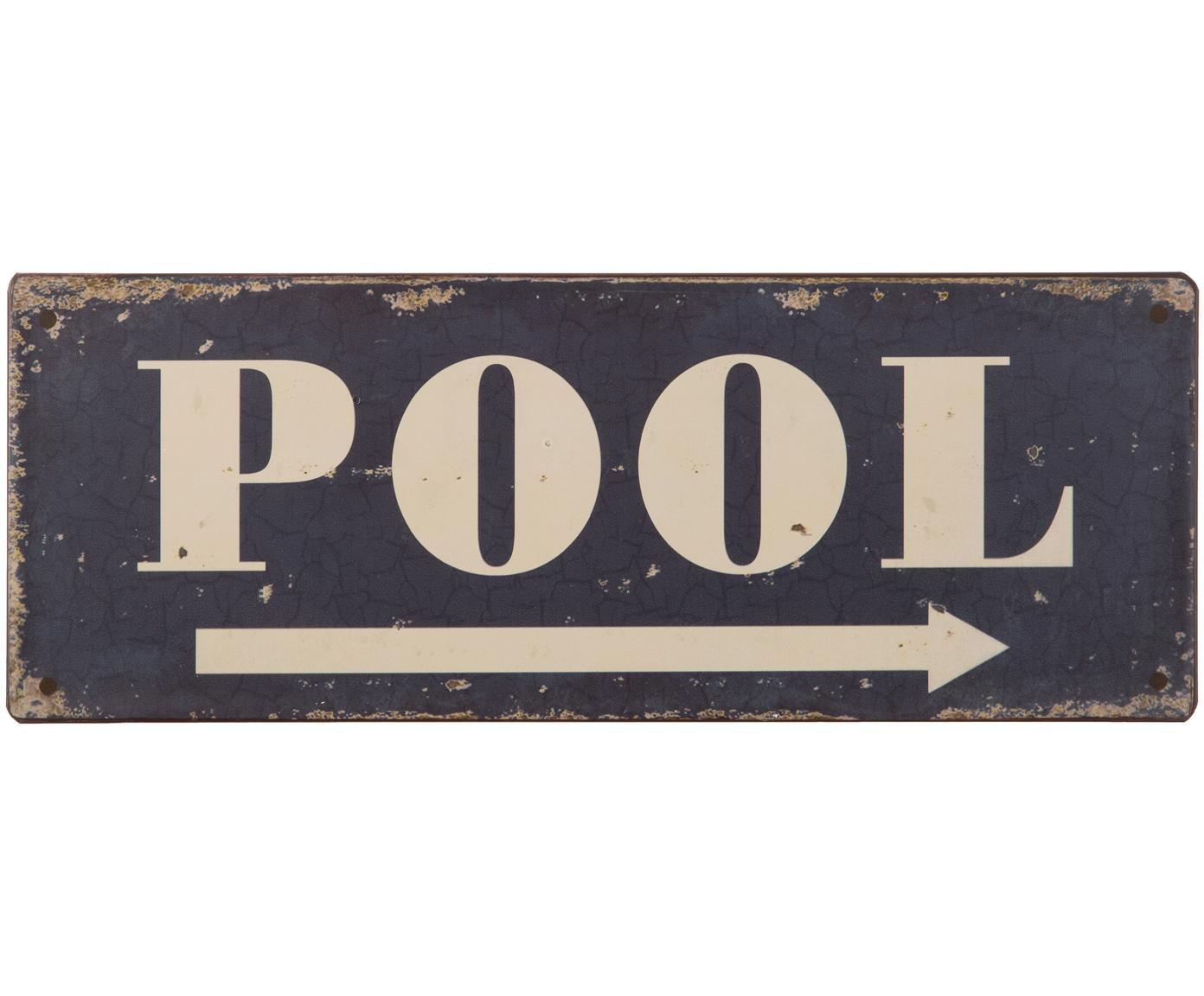 Wandbord Pool, Metaal, met motieffolie bekleed, Donkerblauw, gebroken wit, roestkleurig, 40 x 15 cm