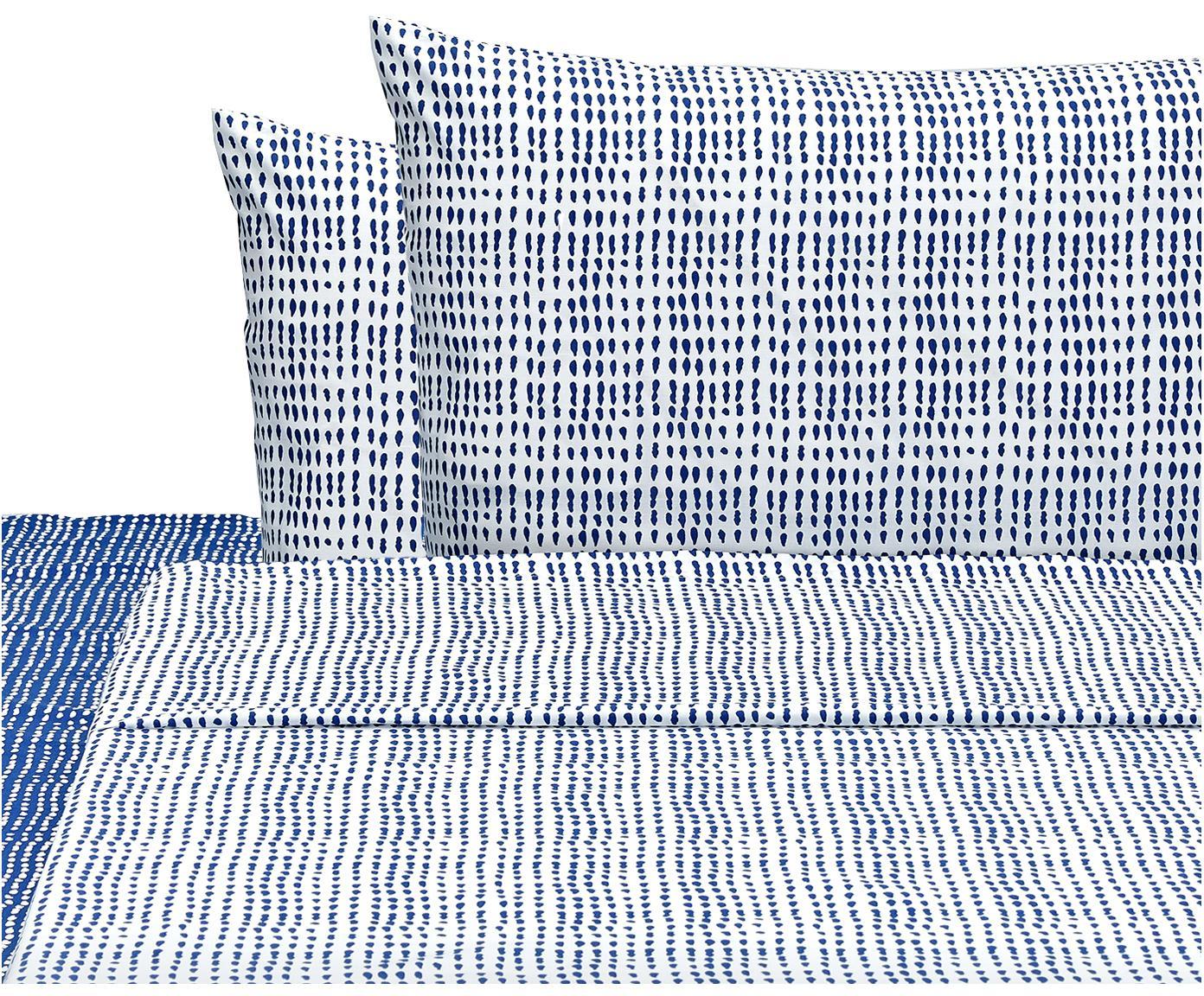 Completo letto Gocciole, Cotone, Blu, bianco, 250 x 280 cm