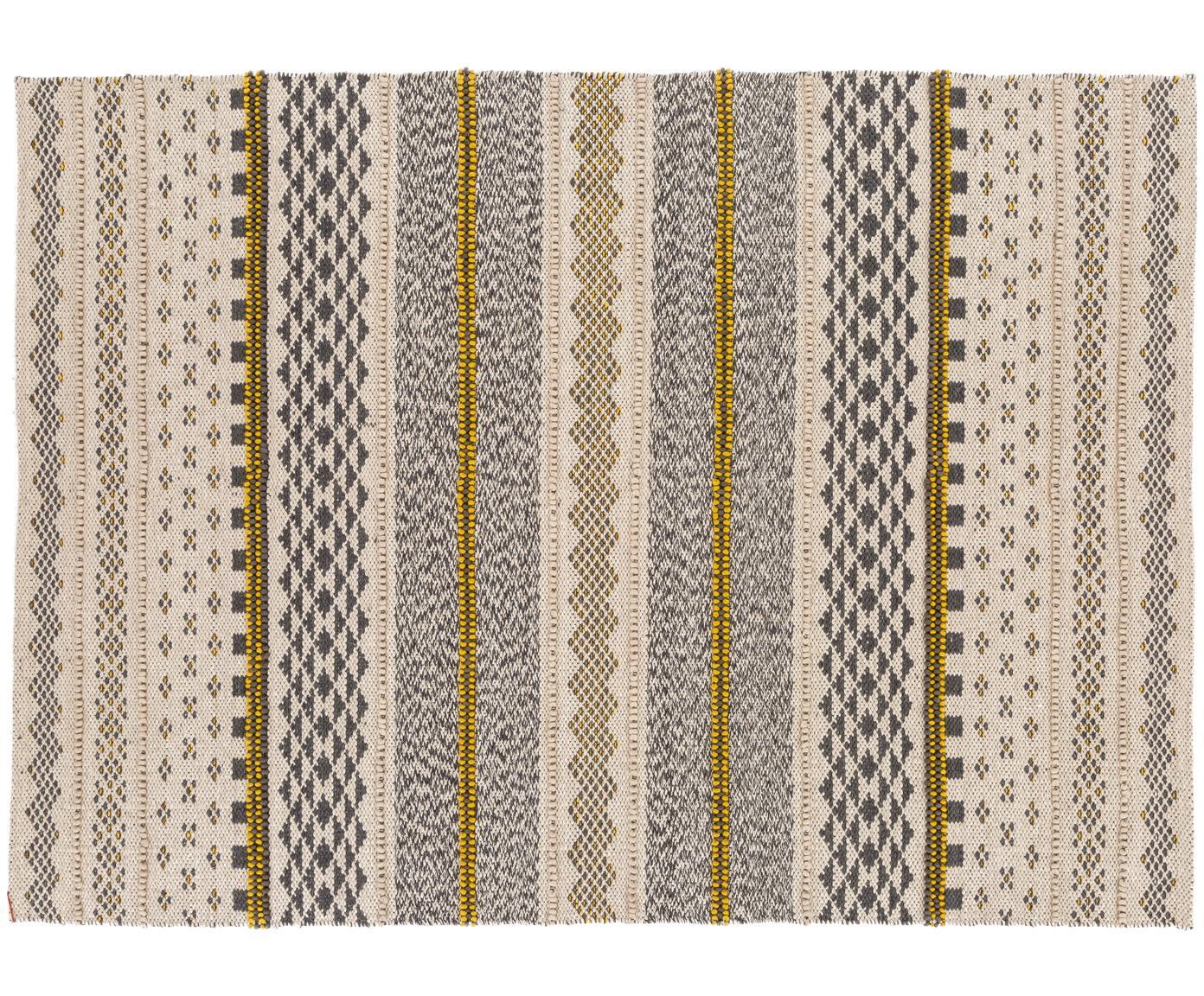 Alfombra de lana Nova, estilo étnico, Gris, mostaza, beige, An 140 x L 200 cm (Tamaño S)