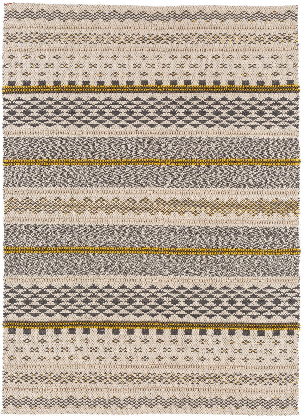 Tappeto di lana etnico Nova, Grigio, senape, beige, Larg. 140 x Lung. 200 cm (taglia S)