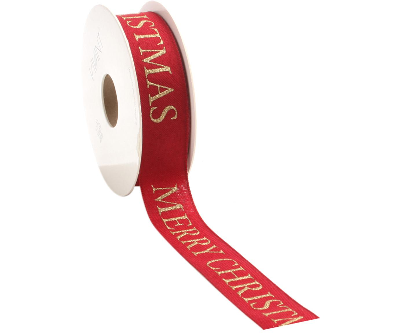 Geschenkband Textire, Polyester, Rot, Goldfarben, 3 x 1500 cm