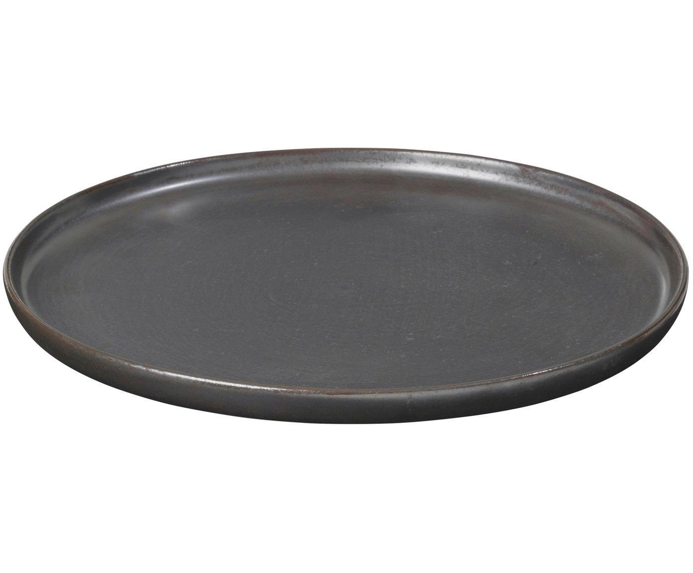 Piatto da colazione fatto a mano Esrum Night 4 pz, Gres smaltata, Marrone grigiastro lucido argenteo opaco, Ø 21 cm