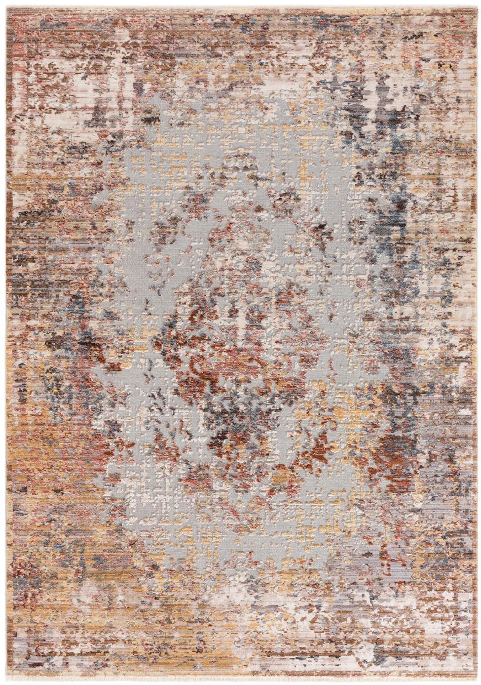 Vloerkleed Valencia, Bovenzijde: polyester, Onderzijde: 70% katoen, 30% polyester, Beigetinten, bruintinten, grijstinten, 120 x 170 cm