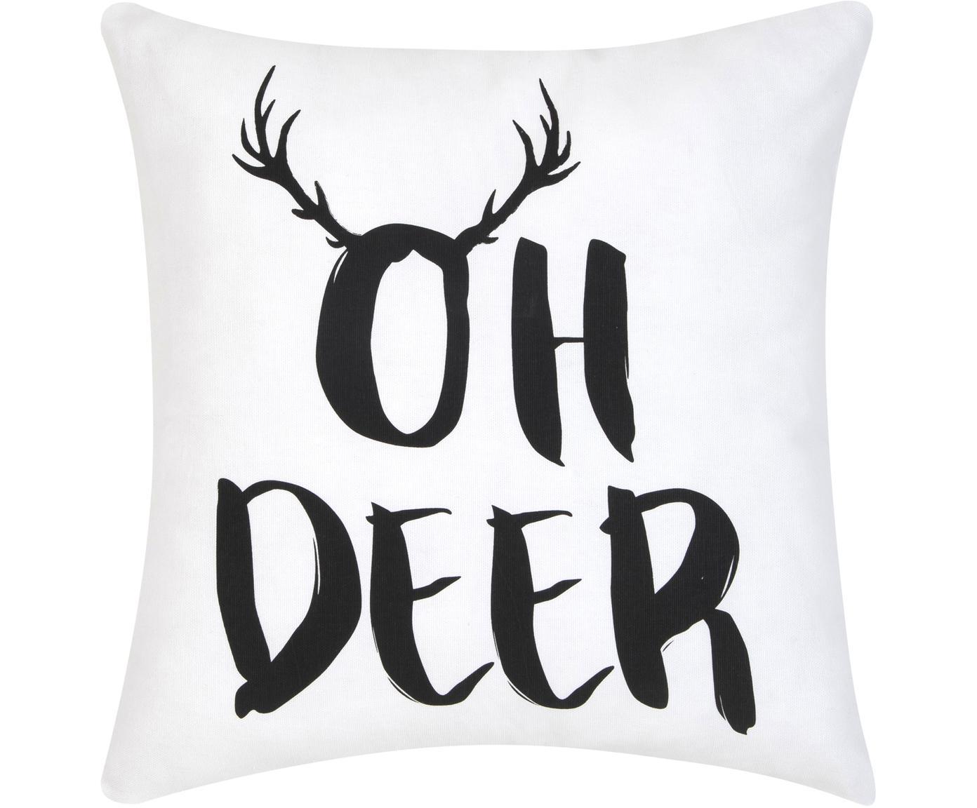 Funda de cojín Oh Deer, Algodón, Negro, blanco, An 40 x L 40 cm
