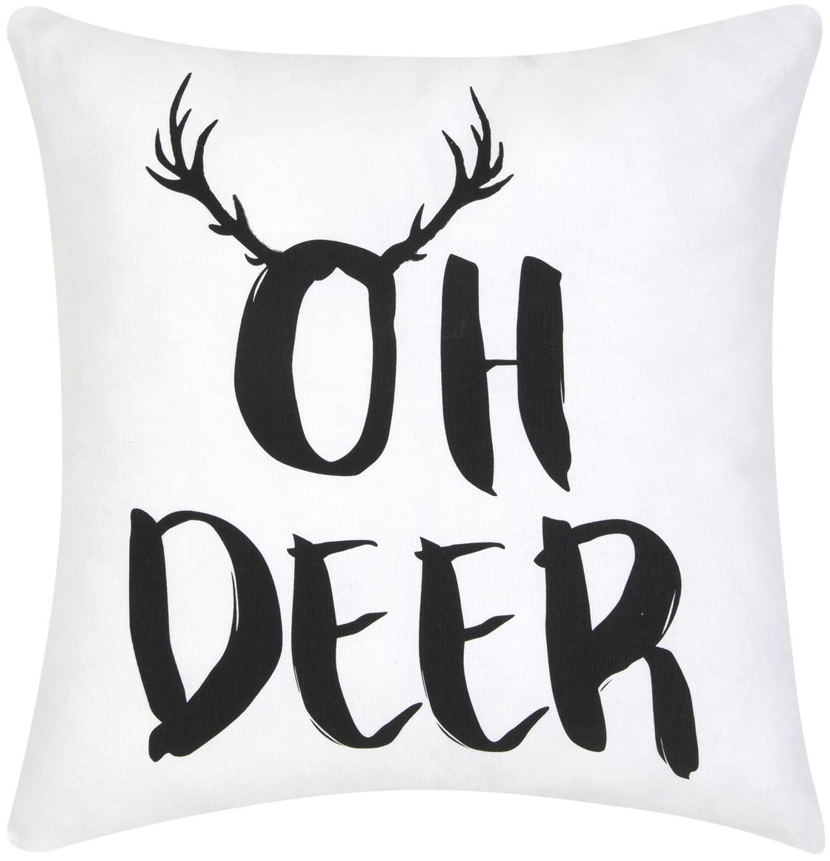 Kissenhülle Oh Deer mit Aufschrift, Baumwolle, Schwarz, Weiß, 40 x 40 cm