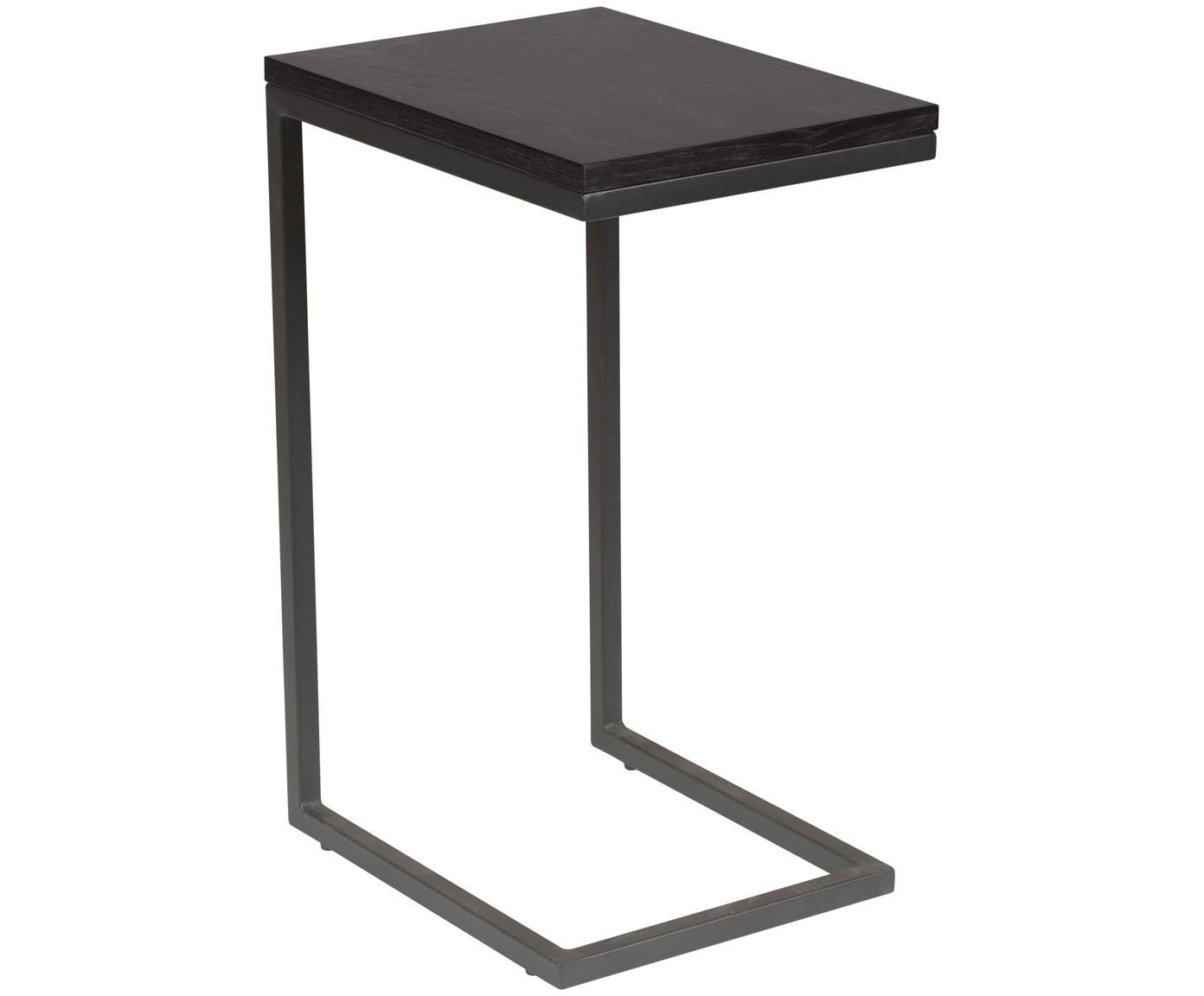 Mesa auxiliar Pia, Tablero: roble, pintado, Estructura: metal, con pintura en pol, Negro, An 40 x F 30 cm