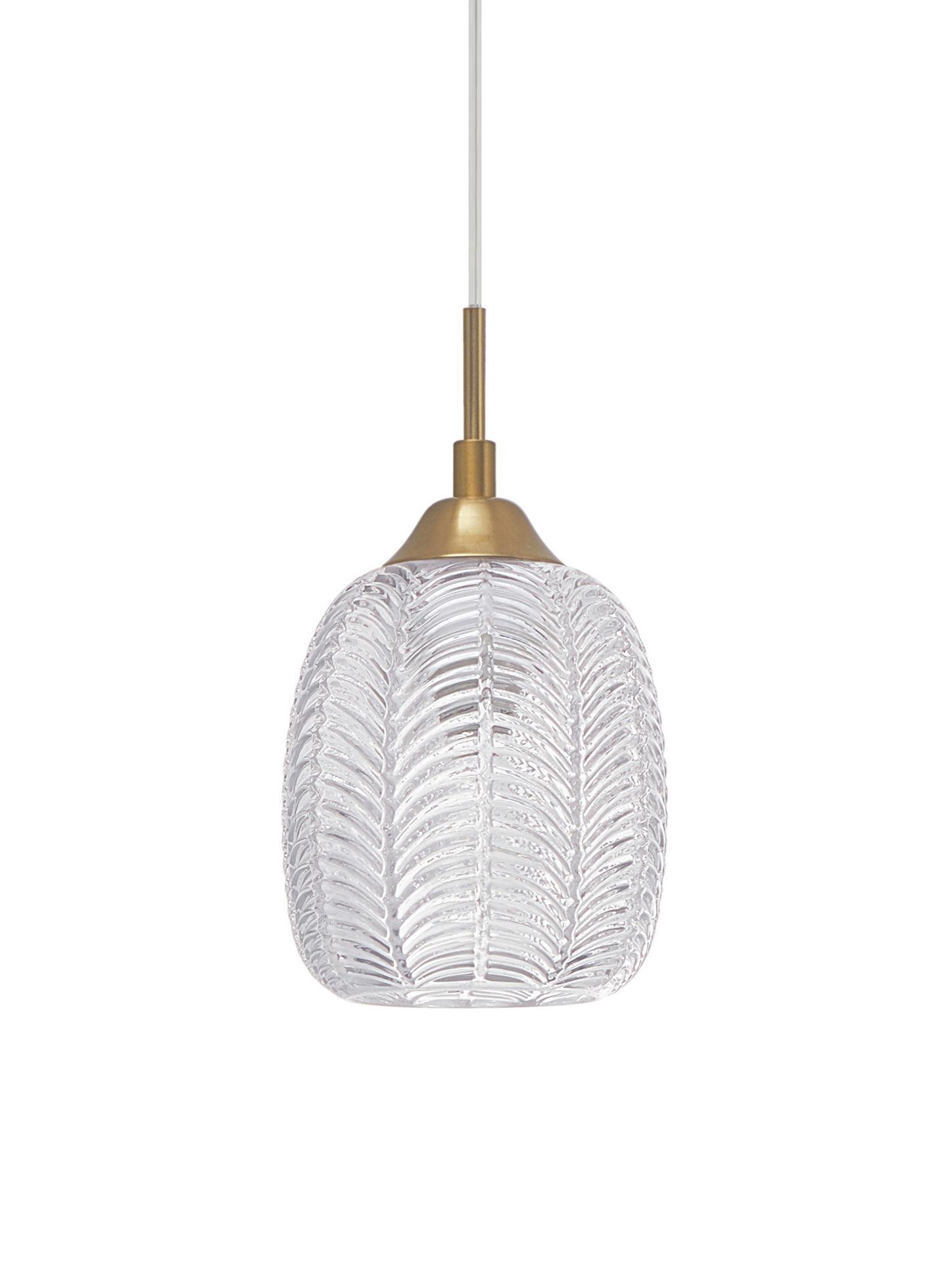 Lampada a sospensione in vetro Vario, Paralume: vetro satinato, Baldacchino: alluminio rivestito, Ottone, trasparente, Ø 14 x Alt. 120 cm