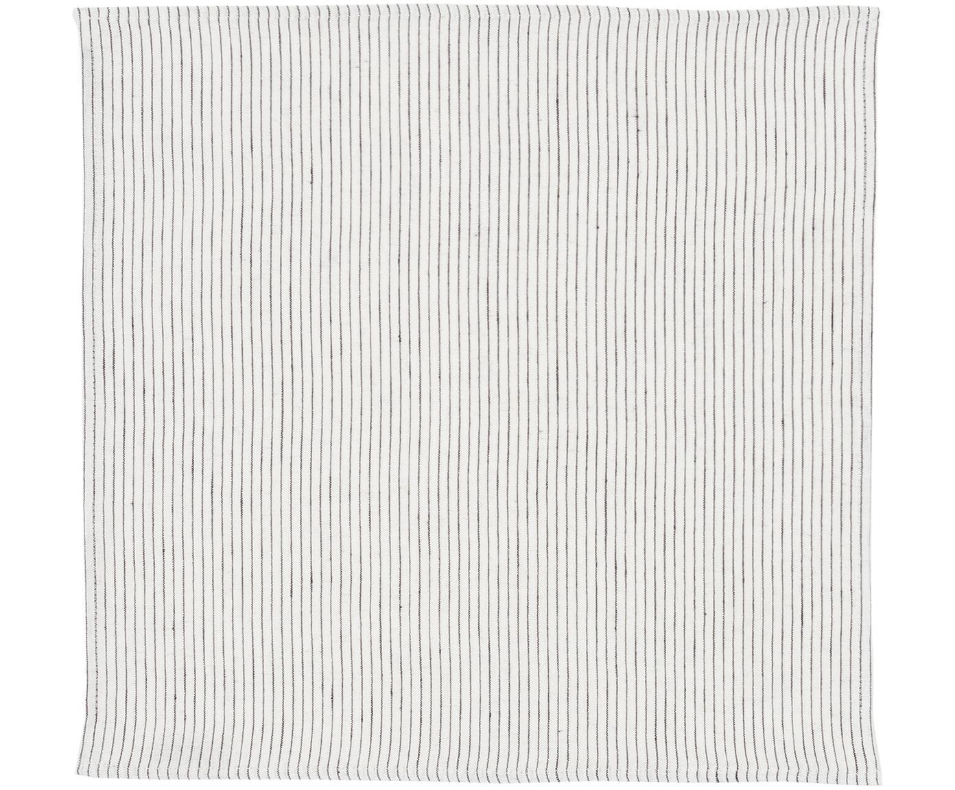 Linnen servetten Svete, 6 stuks, Crèmewit, zwart, 43 x 43 cm
