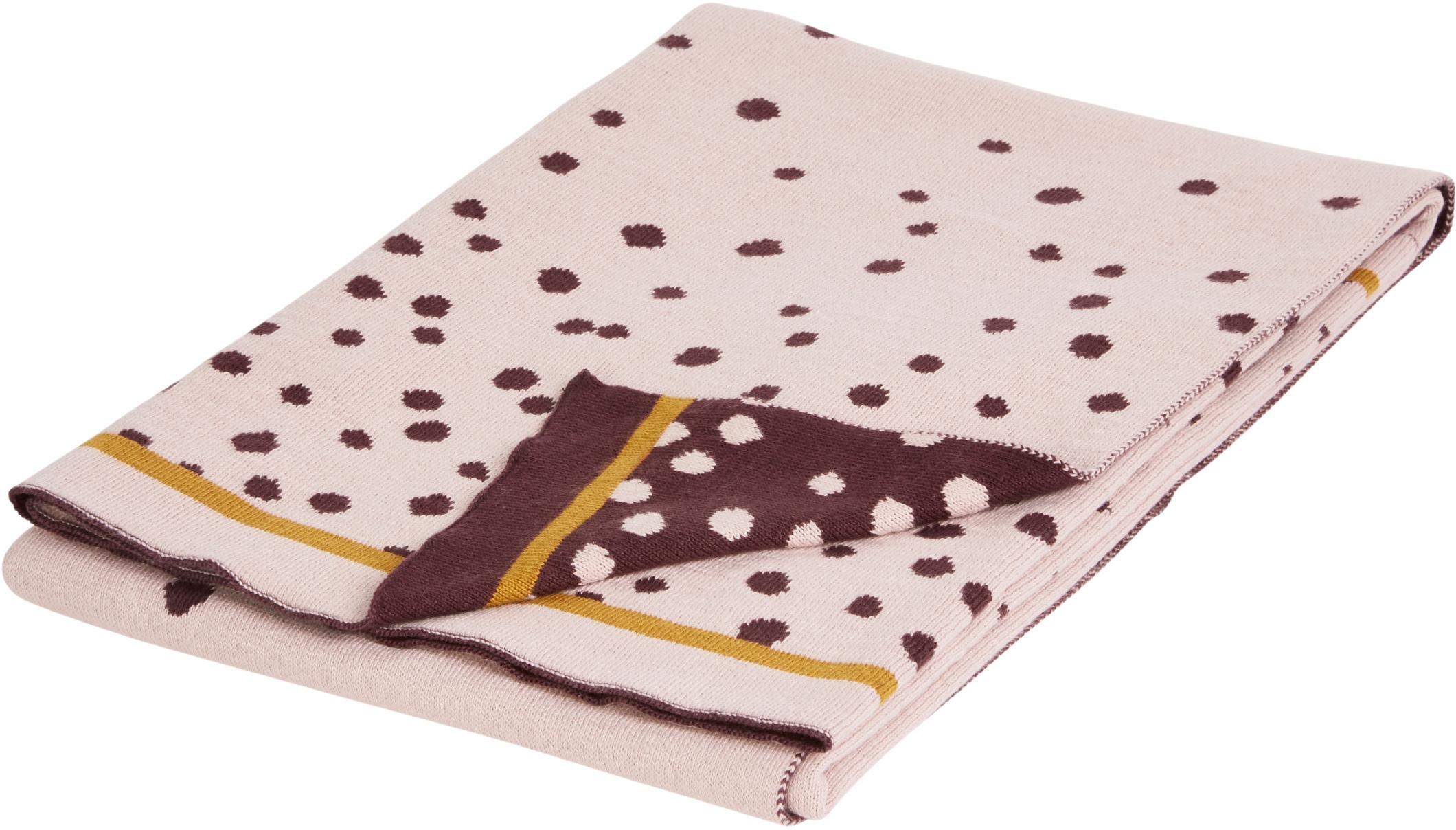 Coperta lavorata a maglia Happy Dots, Rosa, Larg. 80 x Lung. 100 cm