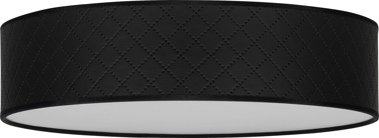 Deckenleuchte Trece aus Leder, Lampenschirm: Leder, Schwarz, Ø 40 x H 11 cm