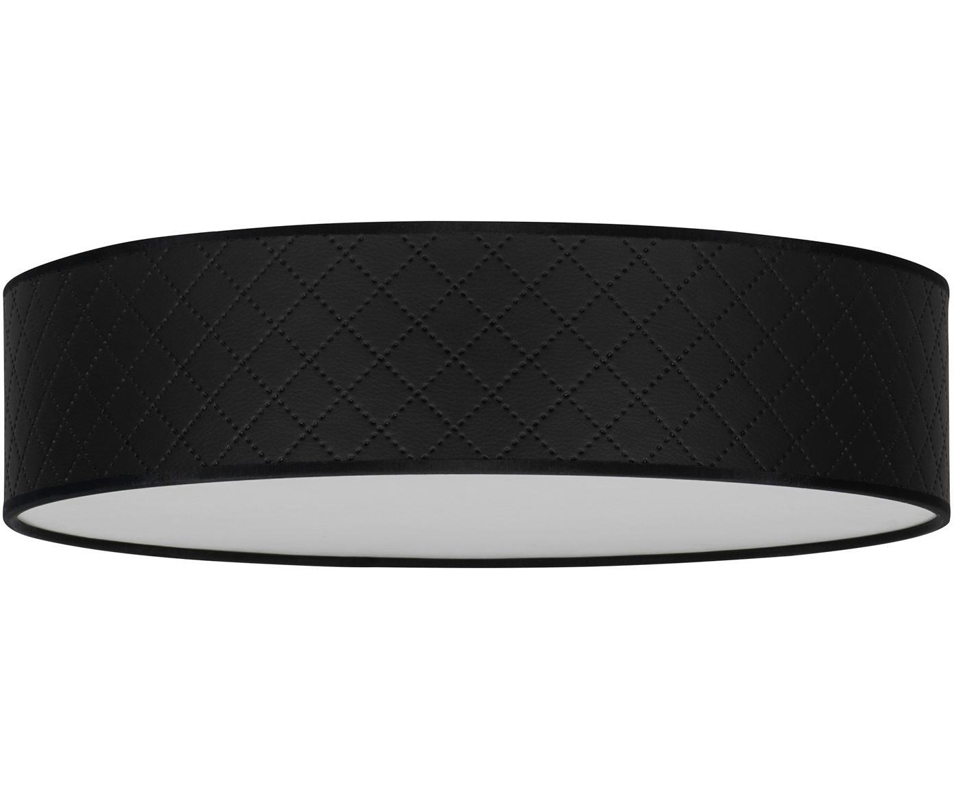 Plafón de cuero Trece, Pantalla: cuero, Negro, Ø 40 x Al 11 cm