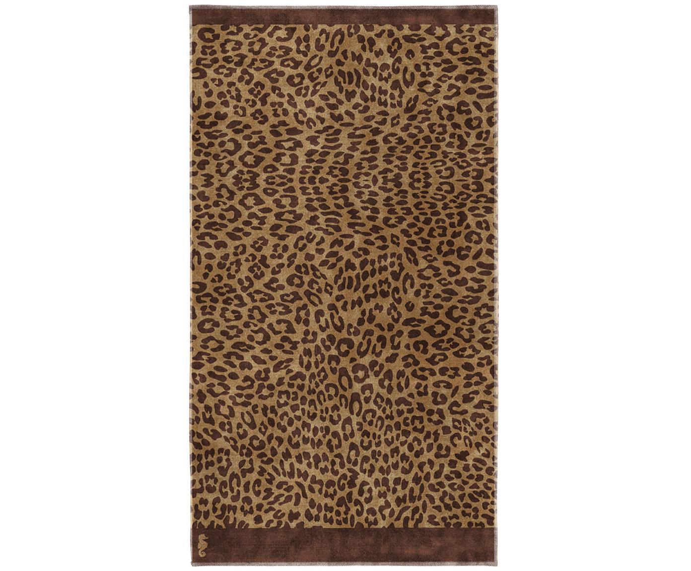 Strandtuch Jaguar mit Animalprint, Webart: Velours, Beige, Braun, 100 x 180 cm