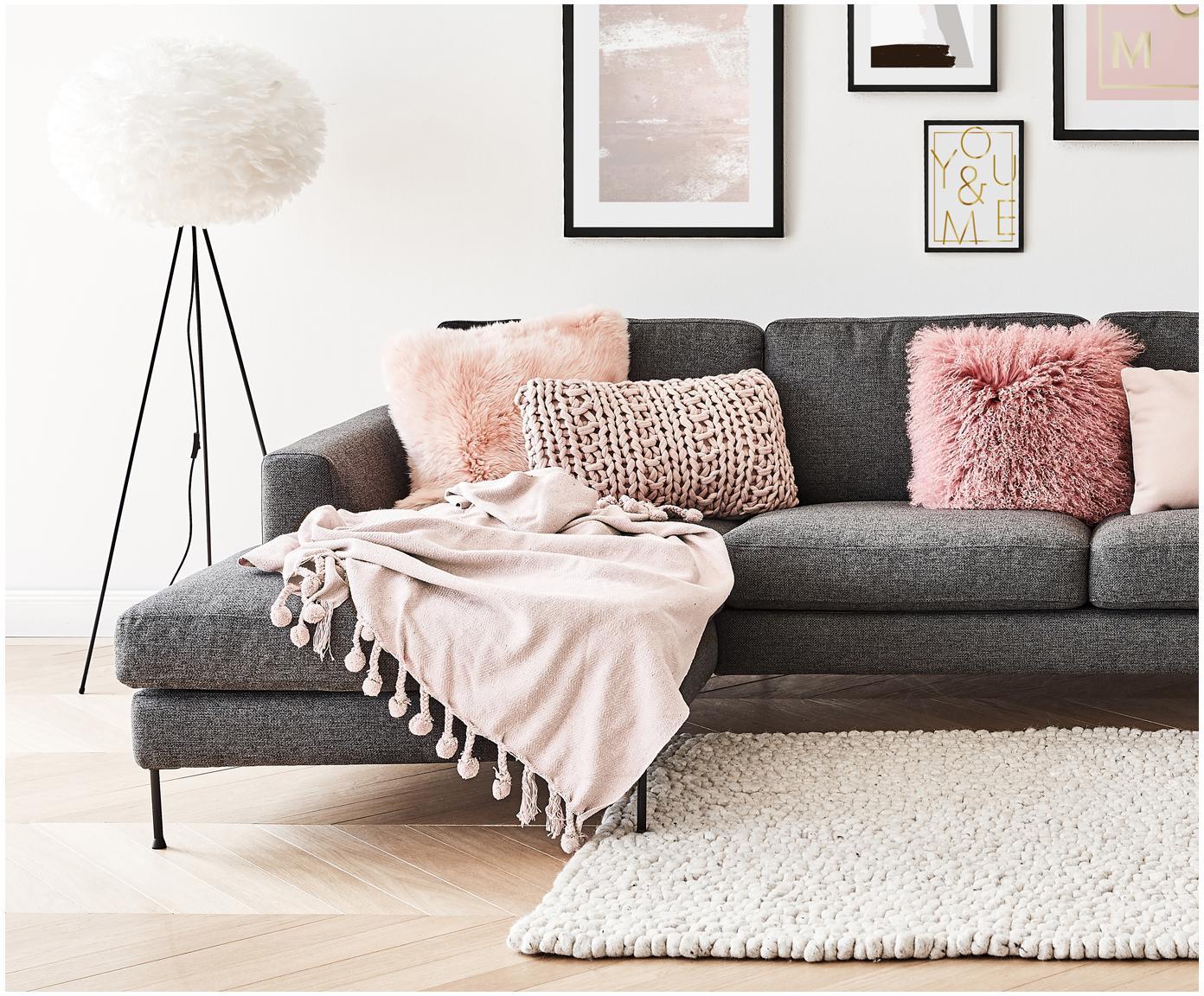 Pled z pomponami Sorbet, Bawełna, Brudny różowy, S 130 x D 170 cm