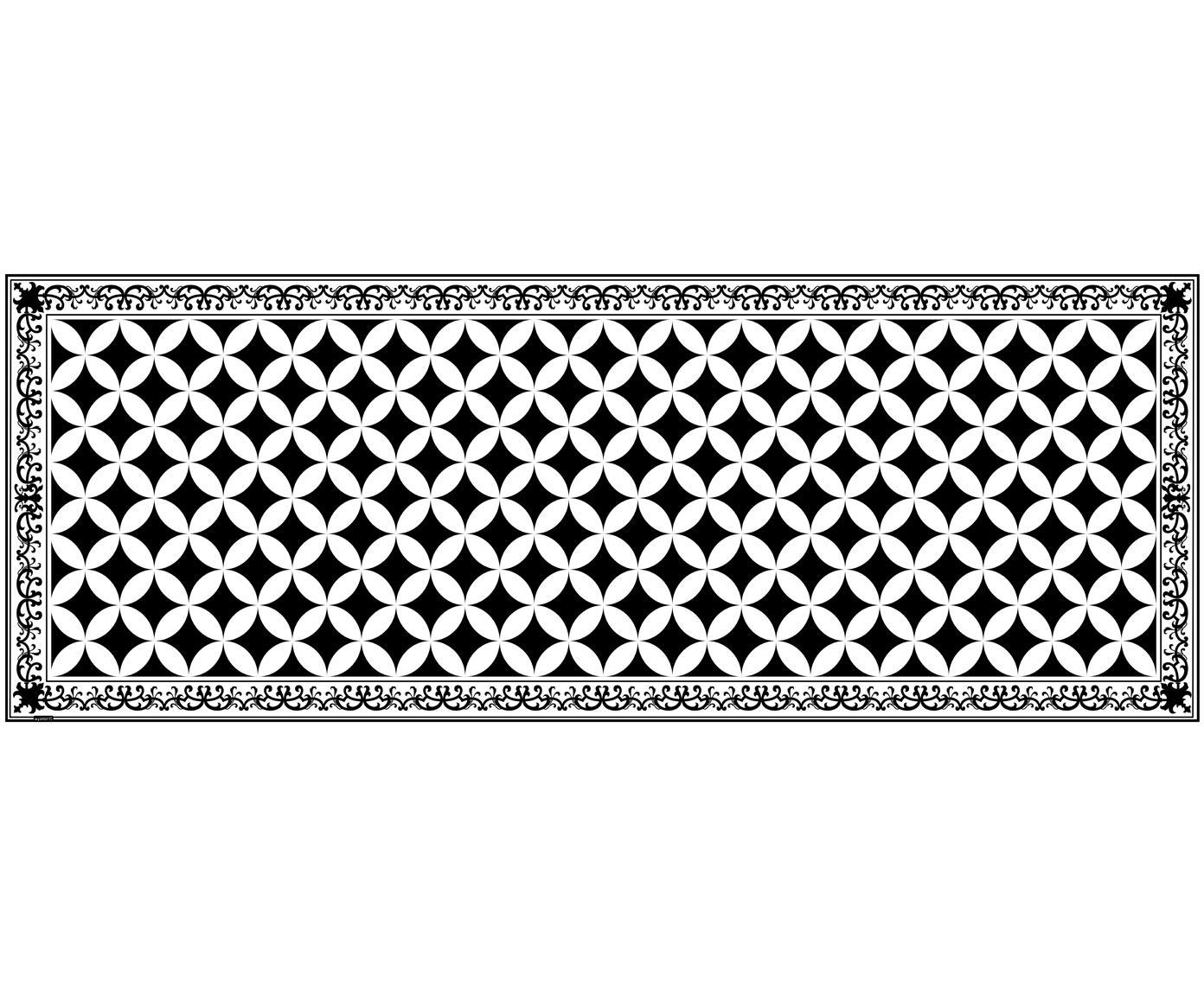 Passatoia in vinile riciclabile Chadi, Vinile riciclabile, Nero, bianco, Larg. 68 x Lung. 180 cm