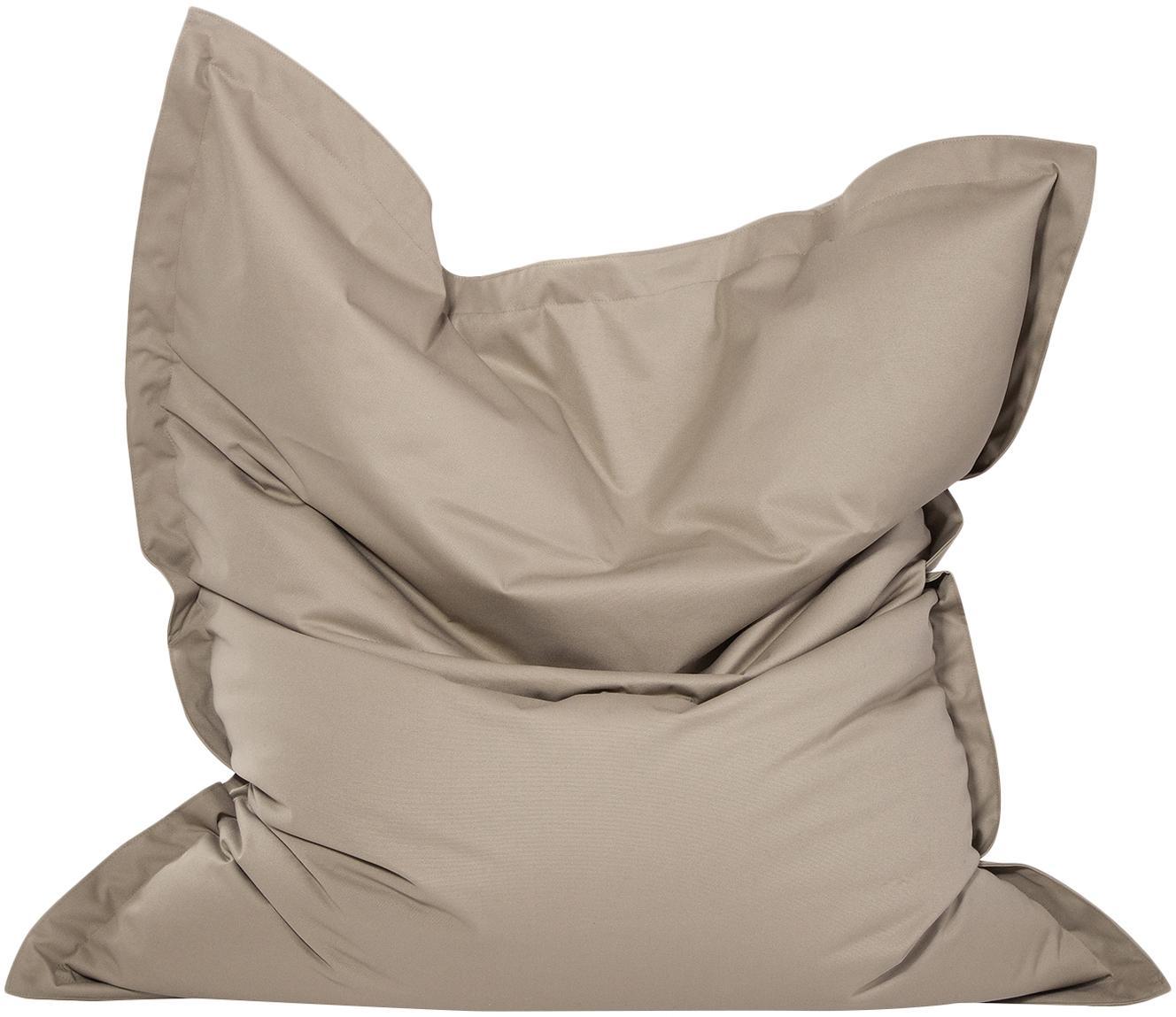 Grote zitzak Meadow, Bekleding: polyester, polyurethaan g, Moddergrijs, 130 x 160 cm