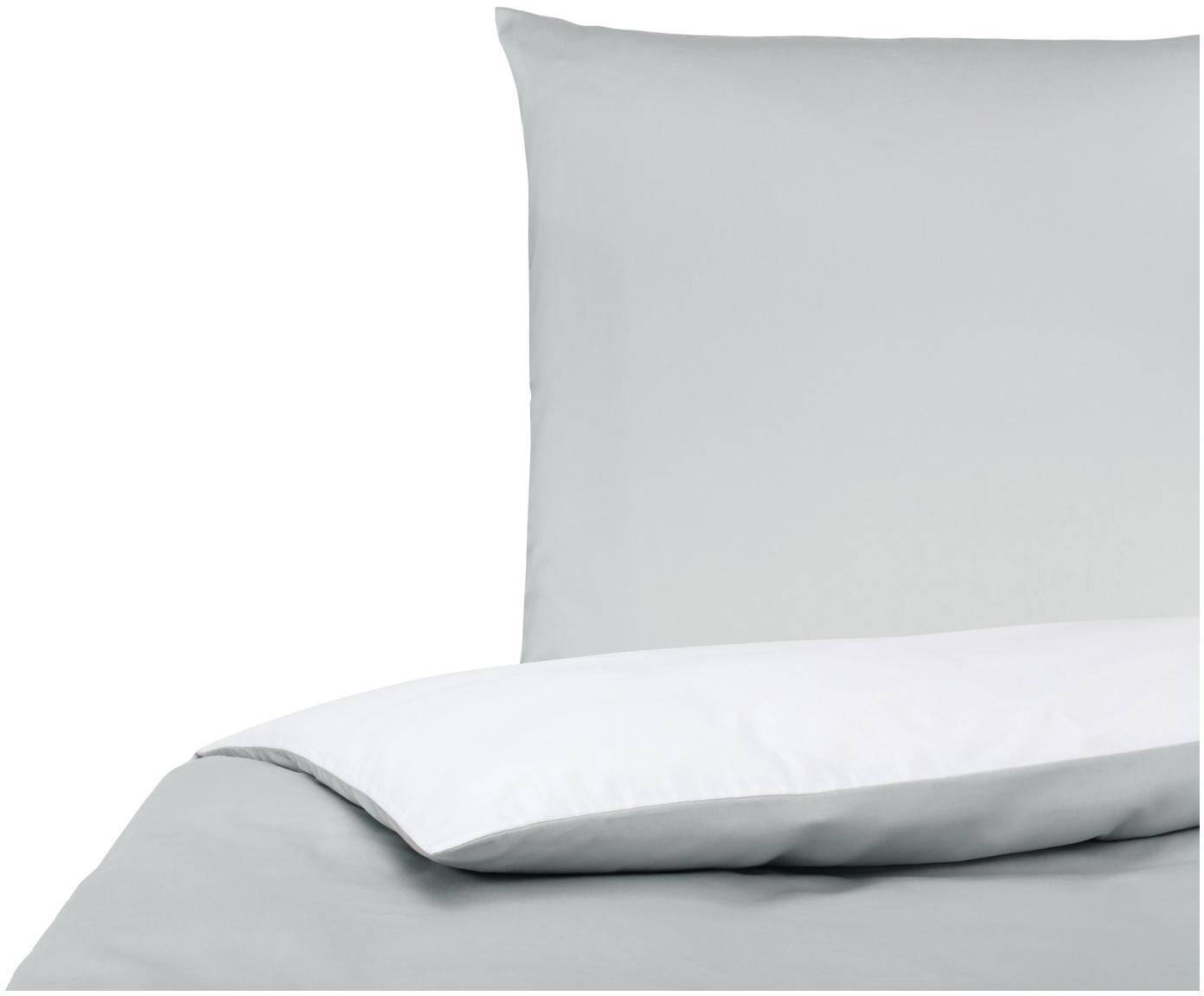 Baumwollsatin-Wendebettwäsche Julia in Grau/Weiß, Webart: Satin Fadendichte 250 TC,, Weiß, Hellgrau, 155 x 220 cm + 1 Kissen 80 x 80 cm