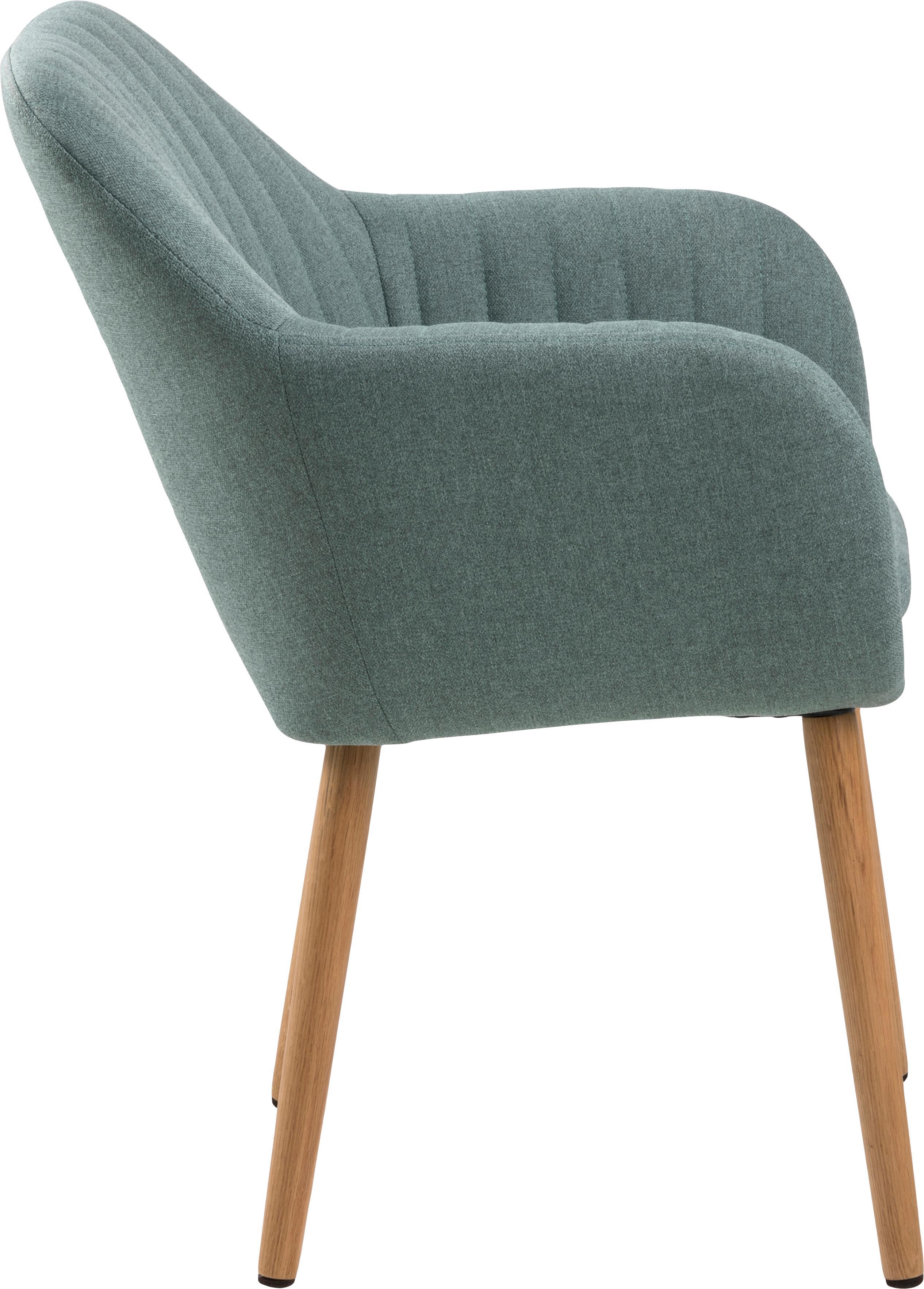 Polsterstuhl Emilia mit Armlehne, Bezug: Polyester, Beine: Eichenholz, ölbehandelt D, Webstoff Olivegrün, Beine Eiche, B 57 x T 59 cm