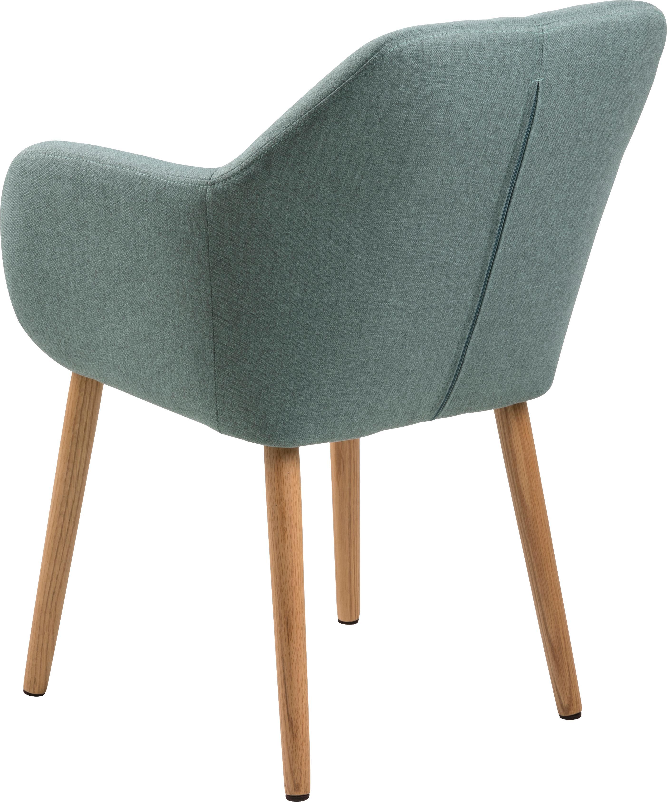 Chaise velours rembourré Emilia, Tissu vert olive, pieds chêne