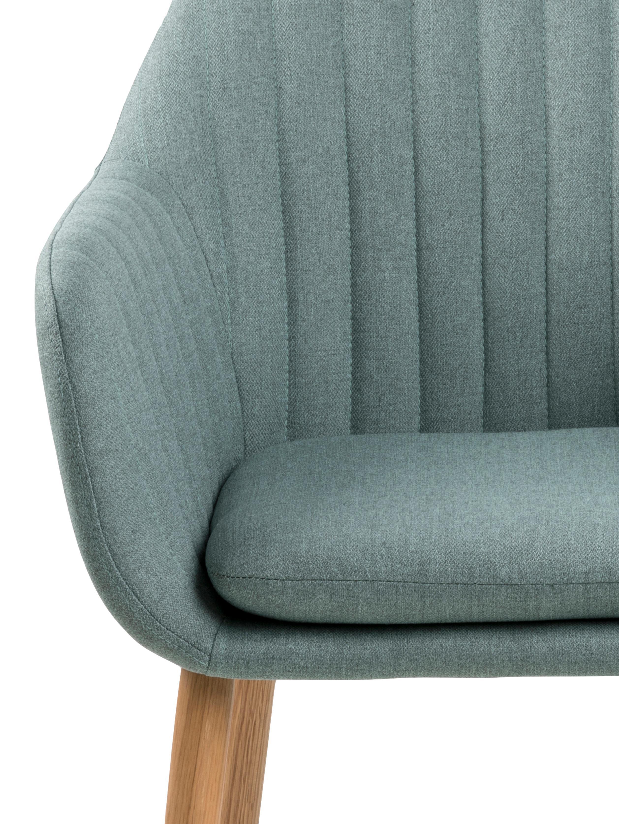 Silla con reposabrazos Emilia, Tapizado: poliéster, Patas: roble, aceitado El tapiza, Tejido verde oliva, patas roble, An 57 x F 59 cm