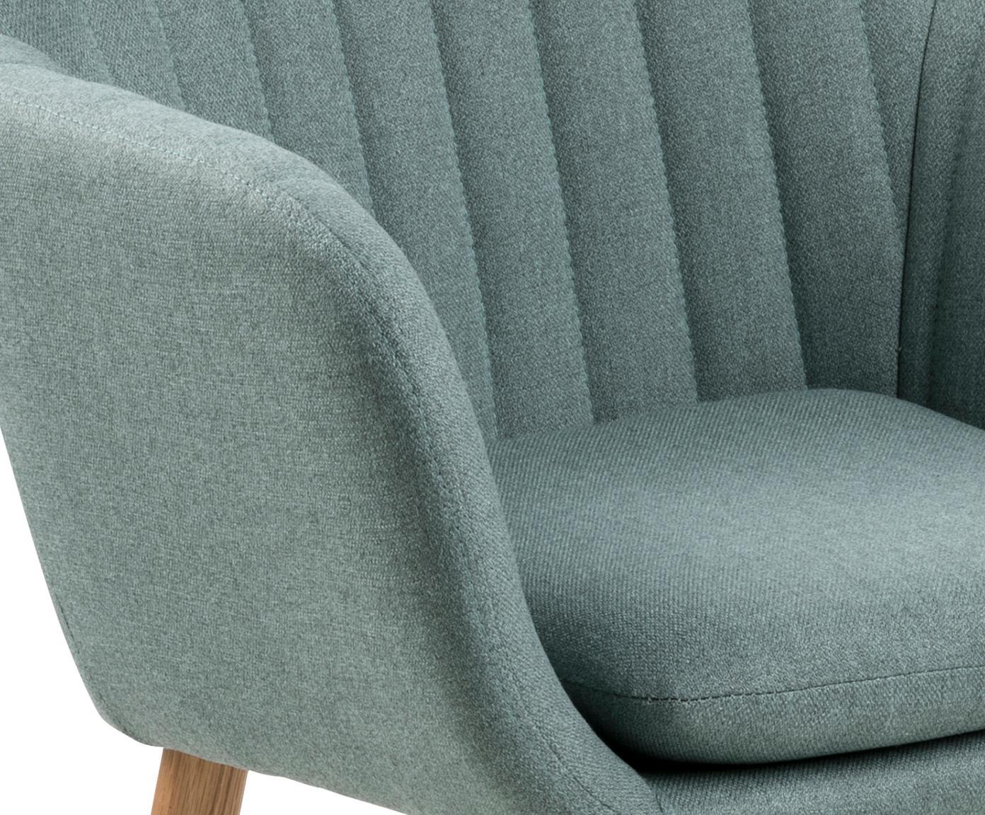 Krzesło z podłokietnikami Emilia, Tapicerka: poliester, Nogi: drewno dębowe, olejowane , Oliwkowy zielony, S 57 x G 59 cm