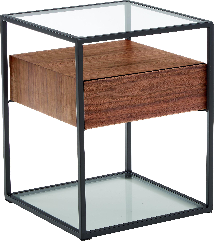 Mesa auxiliar Helix, Estructura: metal con pintura en polv, Transparente, negro, madera de acacia, An 45 x Al 54 cm