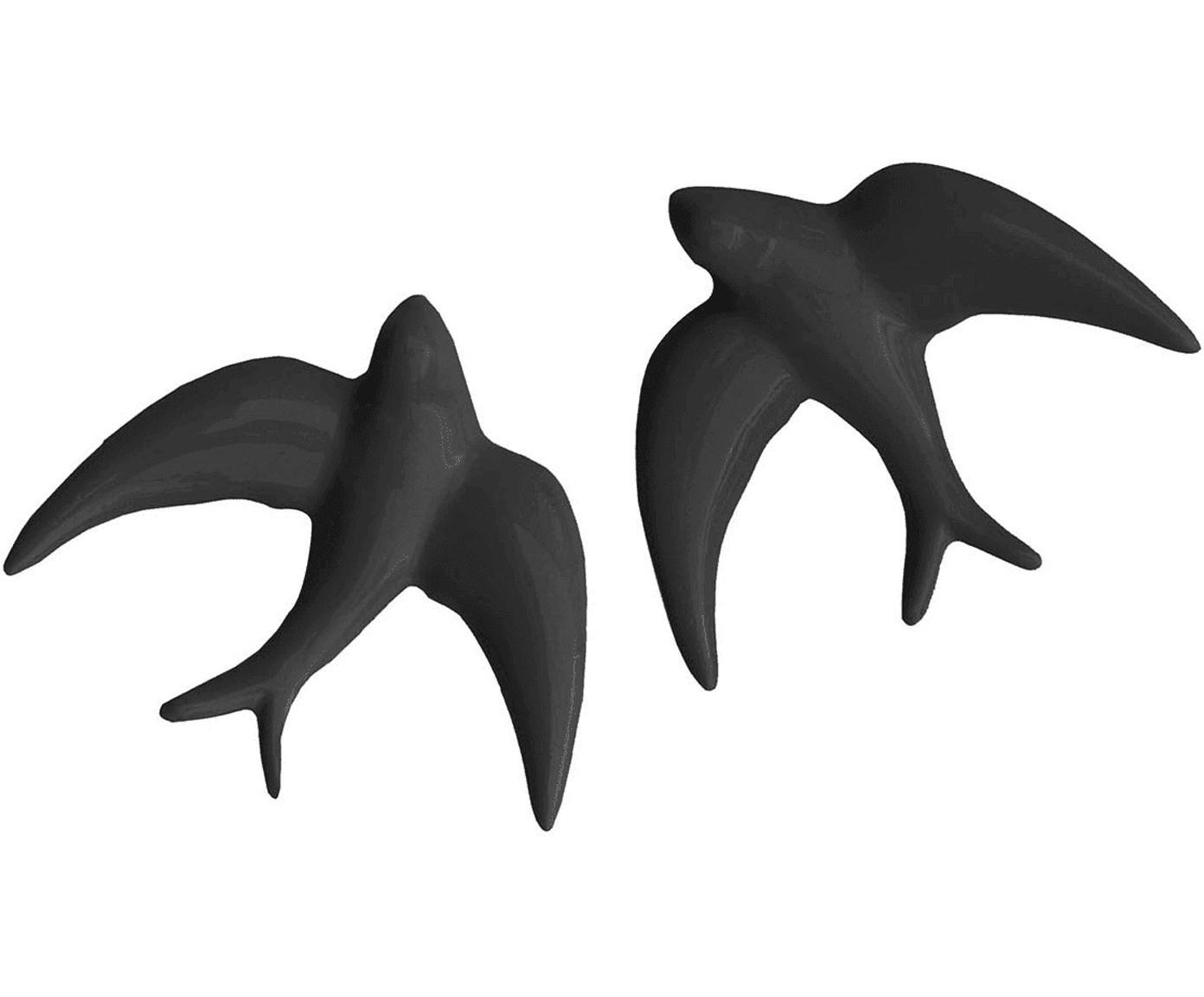 Set de decoración de pared Swallows, 2pzas., Porcelana, Negro, An 11 x Al 11 cm