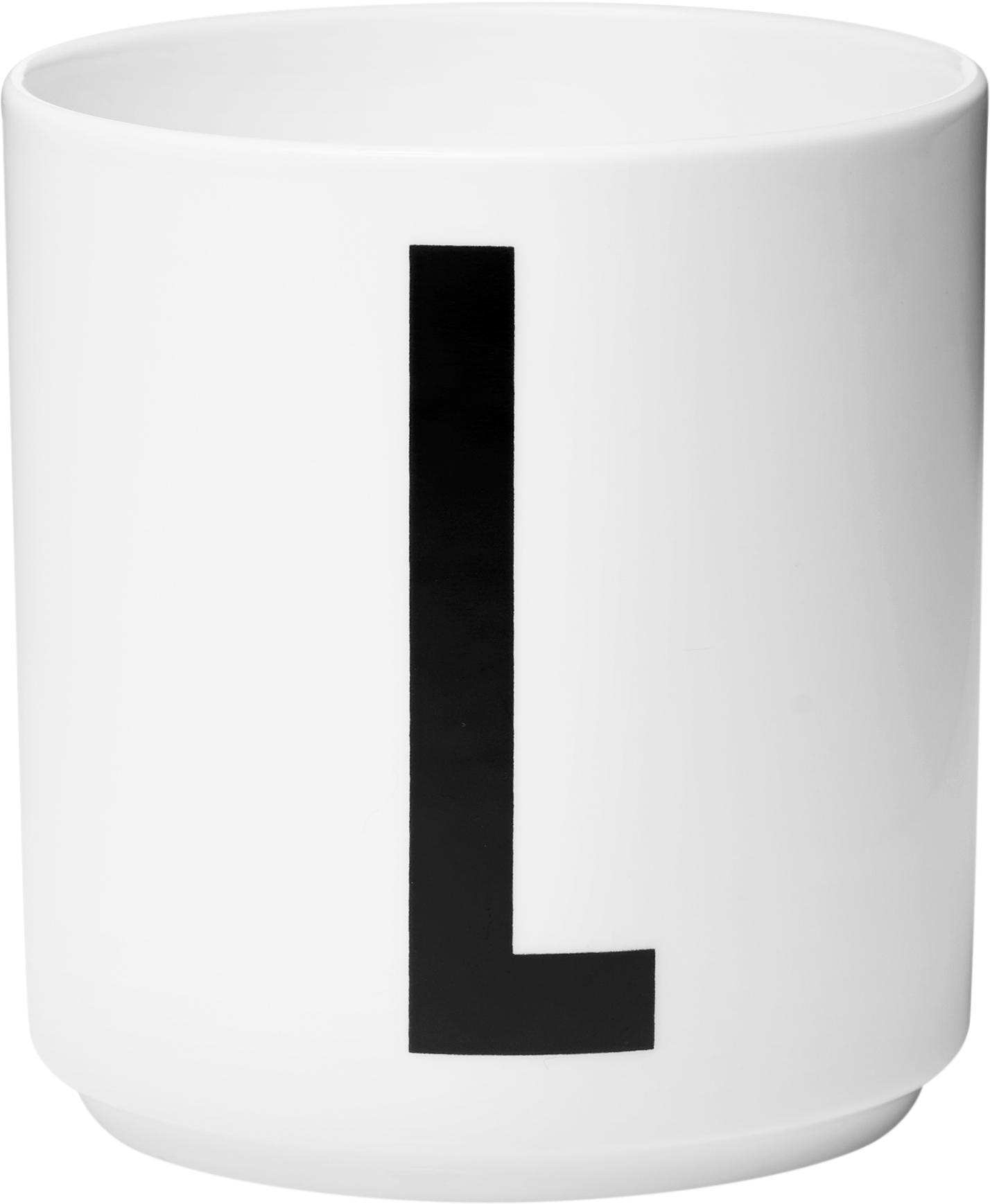 Tazza senza manico di design Personal (varianti dalla A alla Z), Fine Bone China (porcellana), Bianco, nero, Tazza L