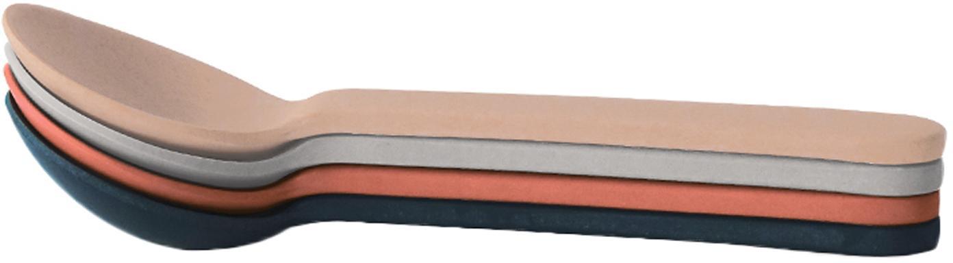 Löffel-Set Bambino, 4-tlg., Bambusfasern, Melamin, lebensmittelecht BPA, PVC und Phthalate frei, Lachsfarben, Hellgrau, Grau, Terrakottarot, 4 x 14 cm