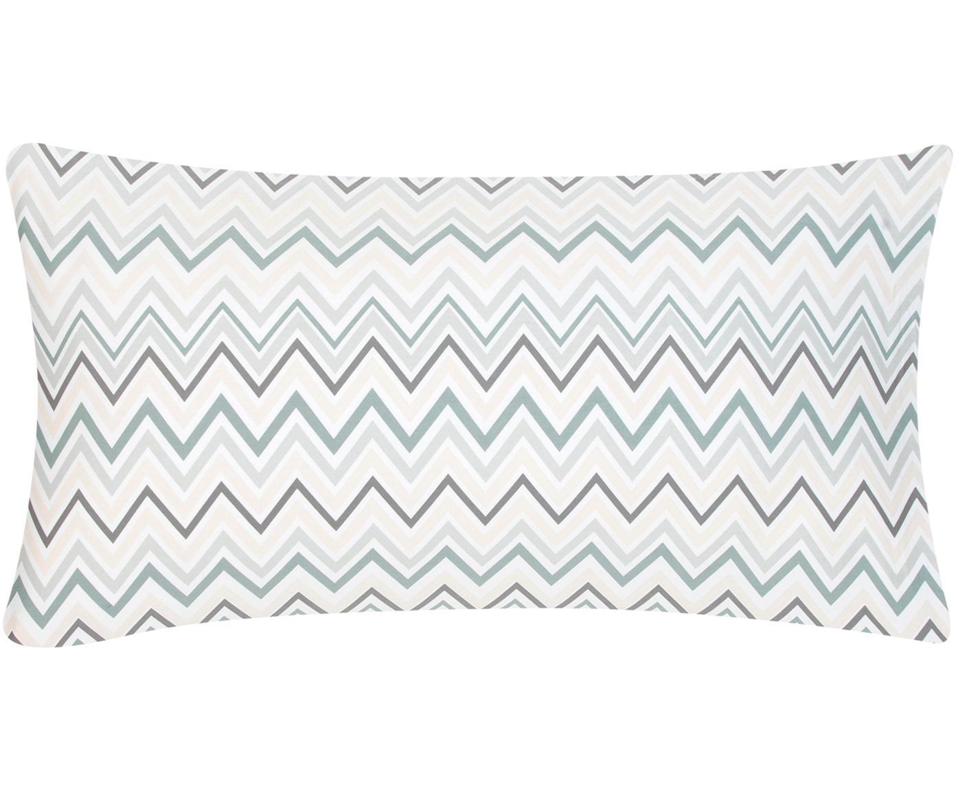 Baumwollsatin-Kissenbezüge Maui mit Zickzack-Muster, 2 Stück, Webart: Satin Fadendichte 200 TC,, Weiß, Grün, 40 x 80 cm