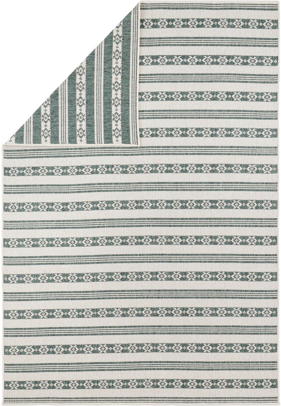 Dubbelzijdig in- & outdoor vloerkleed Fiji, Polypropyleen, Groen, crèmekleurig, B 160 x L 230 cm (maat M)