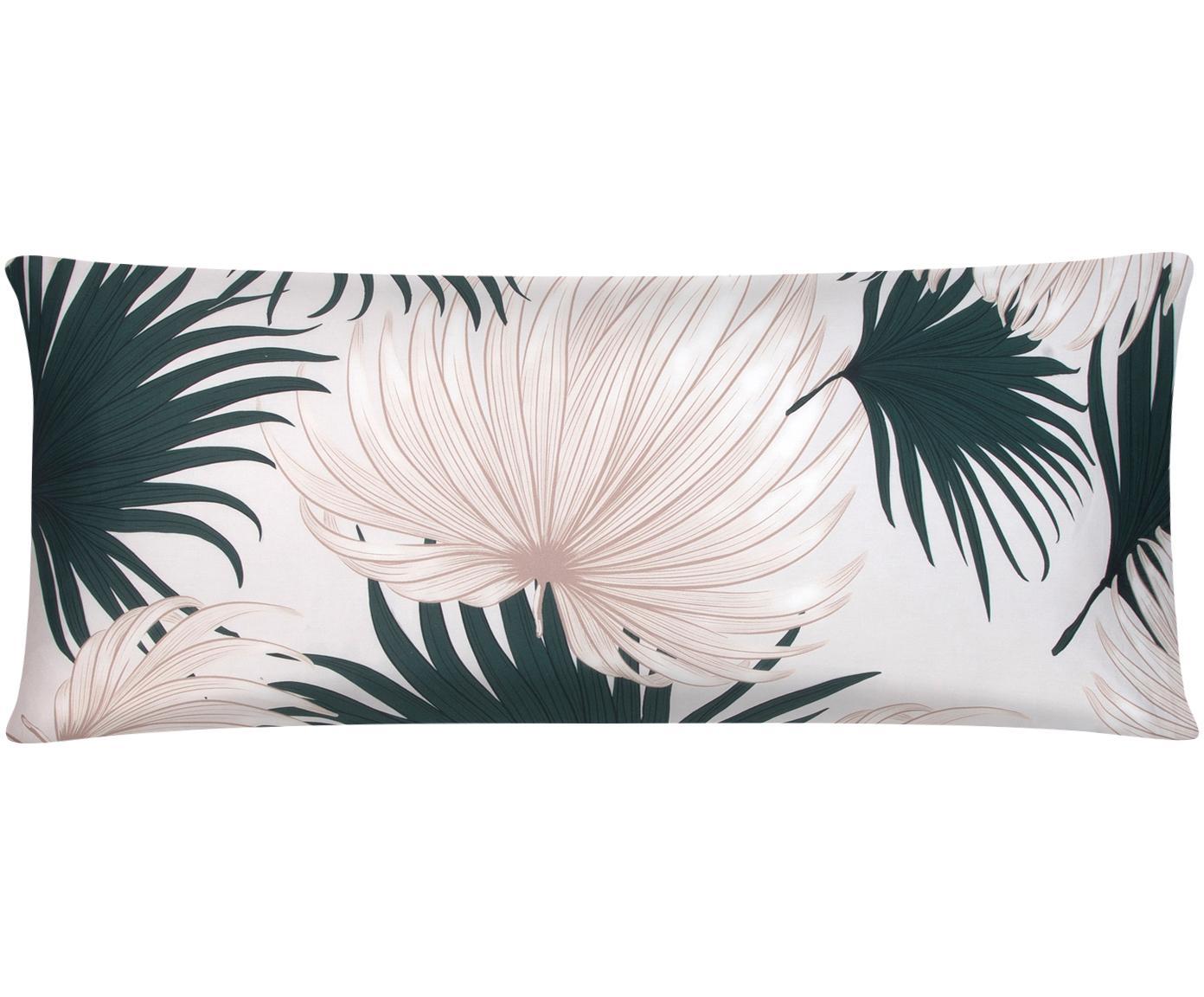 Funda de almohada de satén Aloha, Beige, verde, An 45 x L 110 cm
