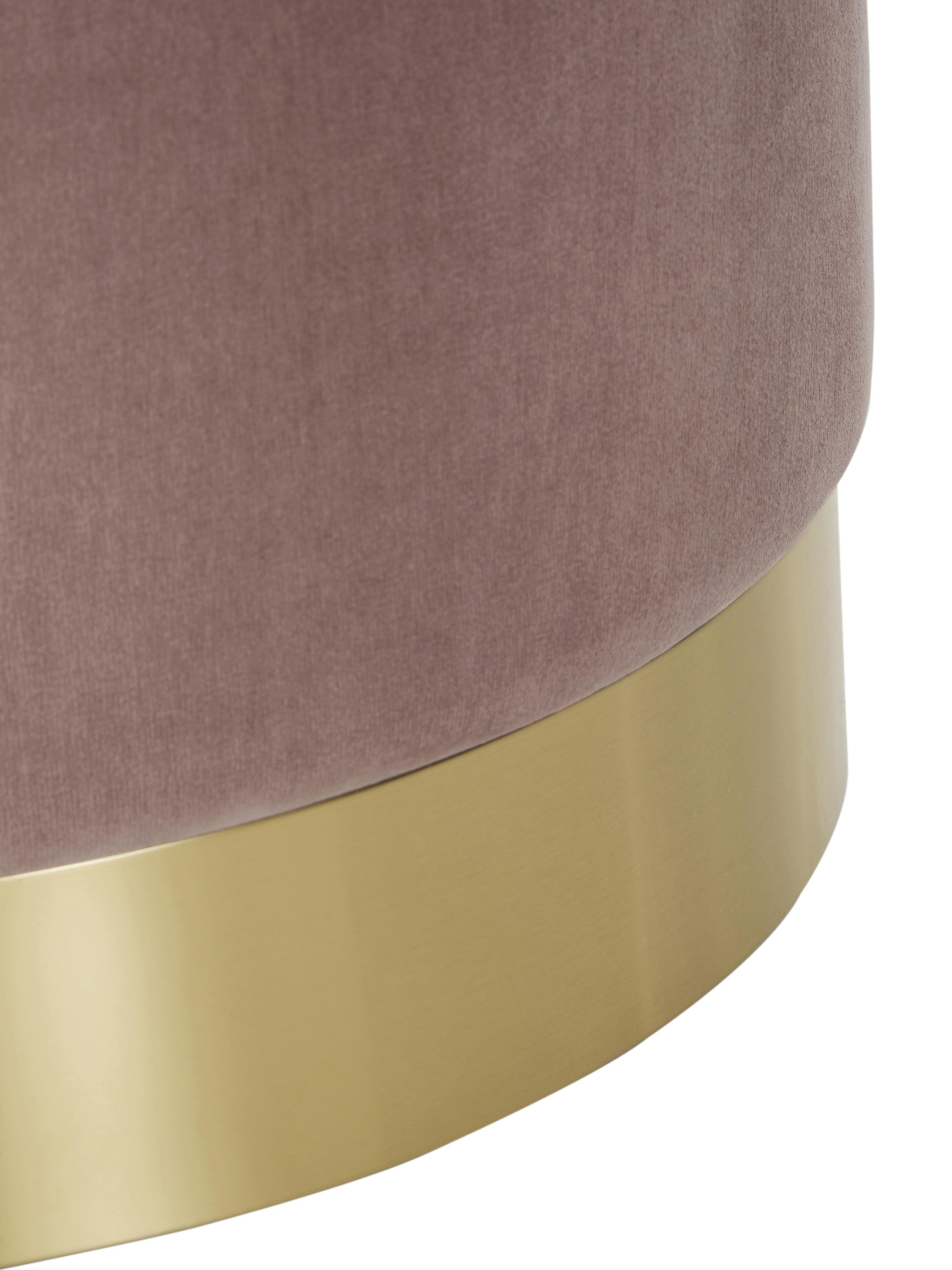 Pouf in velluto Orchid, Rivestimento: velluto (poliestere) Con , Struttura: compensato, Rivestimento: rosa Base: dorato, Ø 38 x Alt. 38 cm