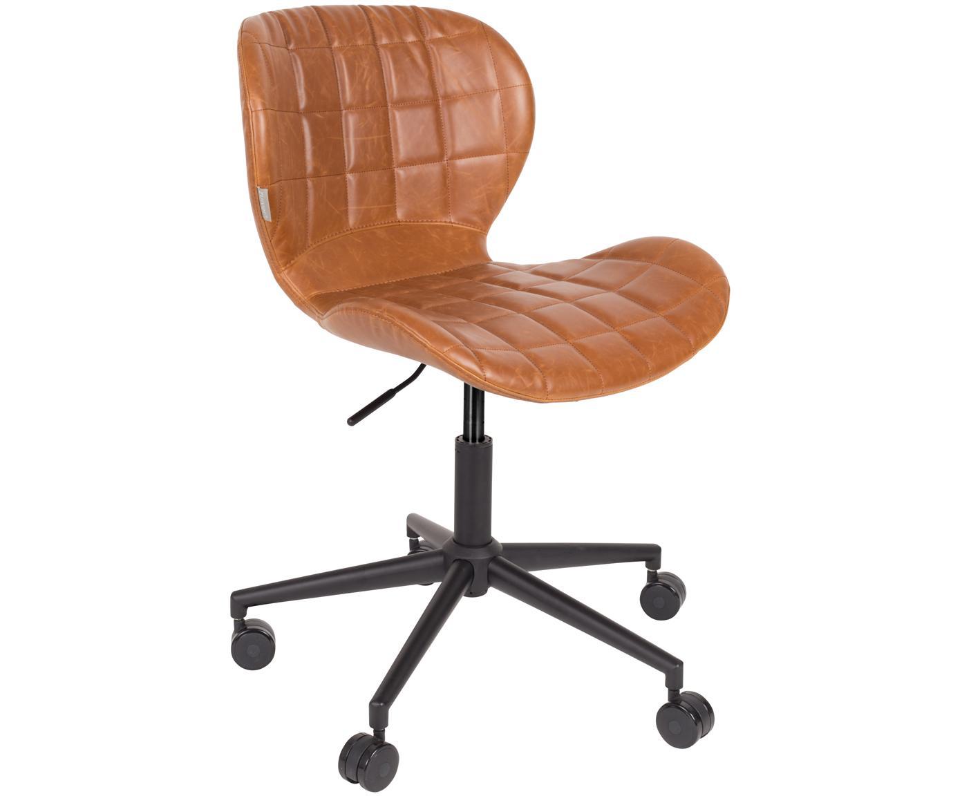 Sedia da ufficio girevole OMG, Rivestimento: pelle sintetica (50% poli, Struttura: acciaio verniciato a polv, Rivestimento: marrone Base con ruote: nero, Larg. 65 x Alt. 76 cm