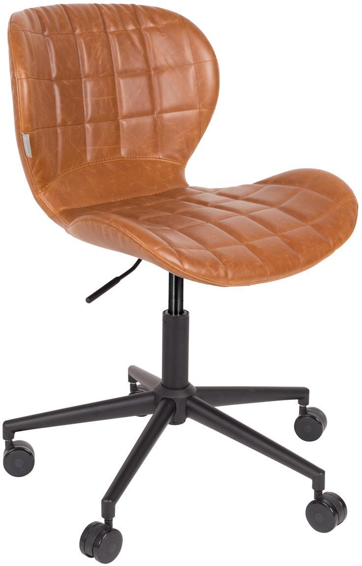 Biurowe krzesło obrotowe OMG, Tapicerka: sztuczna skóra (50% poliu, Stelaż: stal malowana proszkowo, Korpus: drewno warstwowe, Tapicerka: pianka, Tapicerka: brązowy Podstawa z kółkami: czarny, S 65 x W 76 cm