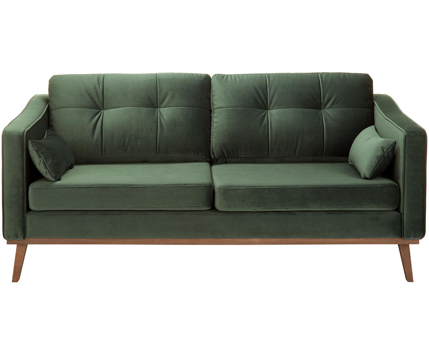 Sofa z aksamitu Alva (2-osobowa), Tapicerka: aksamit (wysokiej jakości, Stelaż: drewno sosnowe, Nogi: lite drewno bukowe, barwi, Oliwkowy, S 184 x G 92 cm