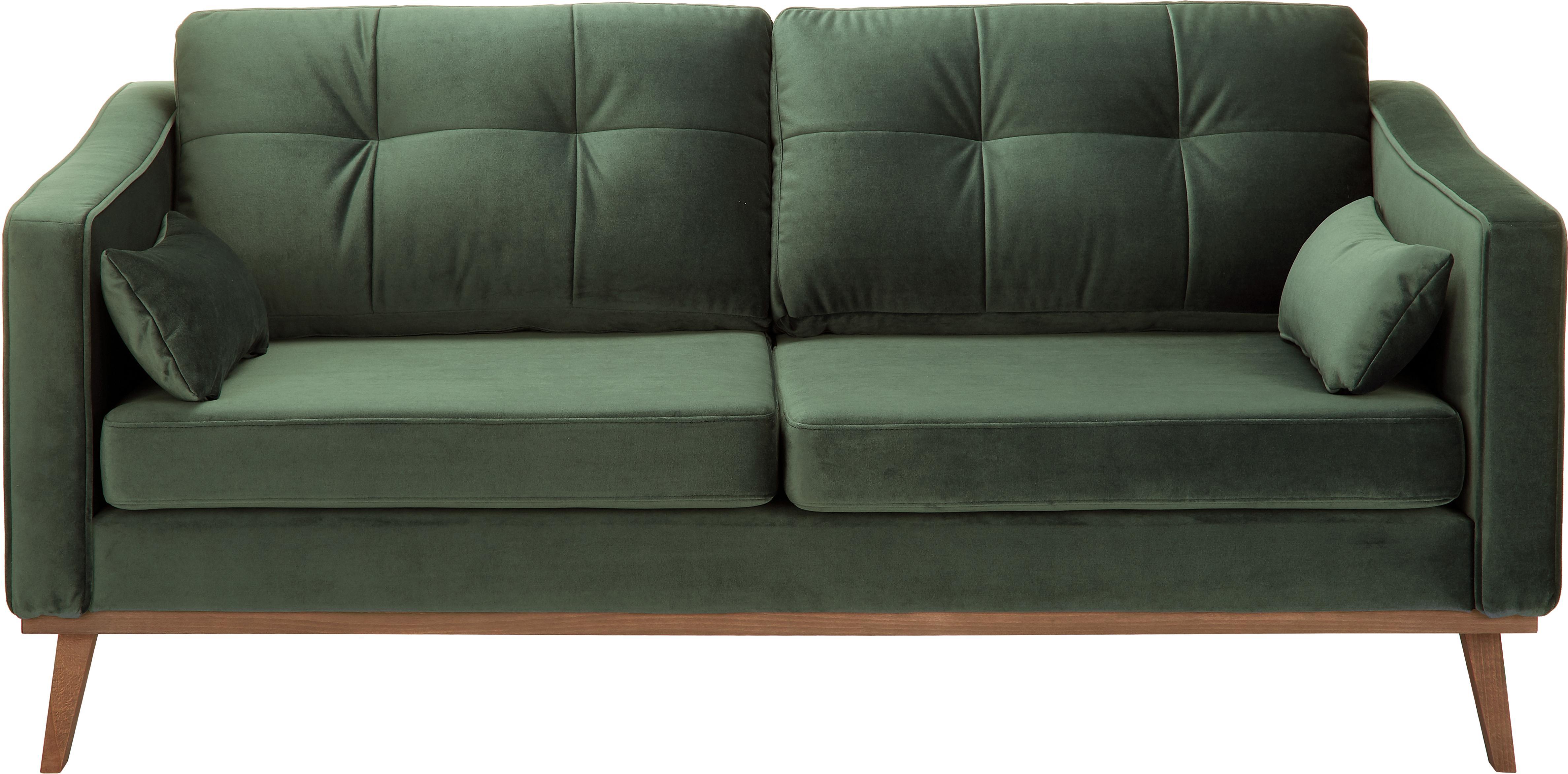 Fluwelen bank Alva (2-zits), Bekleding: fluweel (hoogwaardig poly, Frame: massief grenenhout, Poten: massief gebeitst beukenho, Olijfkleurig, B 184 x D 92 cm