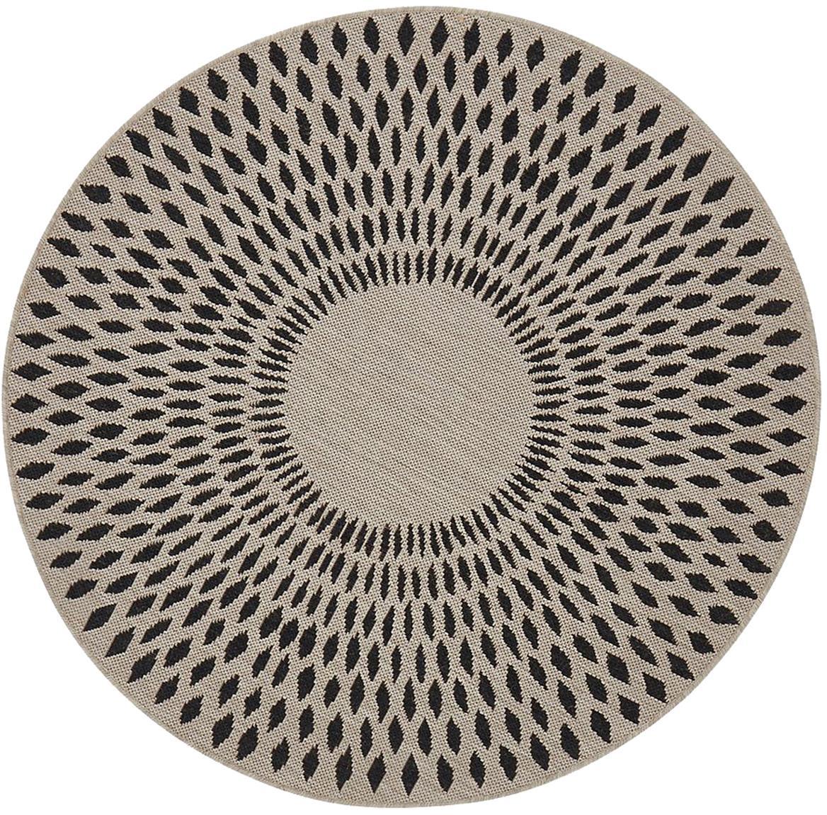 Runder In- & Outdoor-Teppich Agna, 90% Polypropylen, 10% Polyester, Sandfarben, Anthrazit, Ø 120 cm (Größe S)