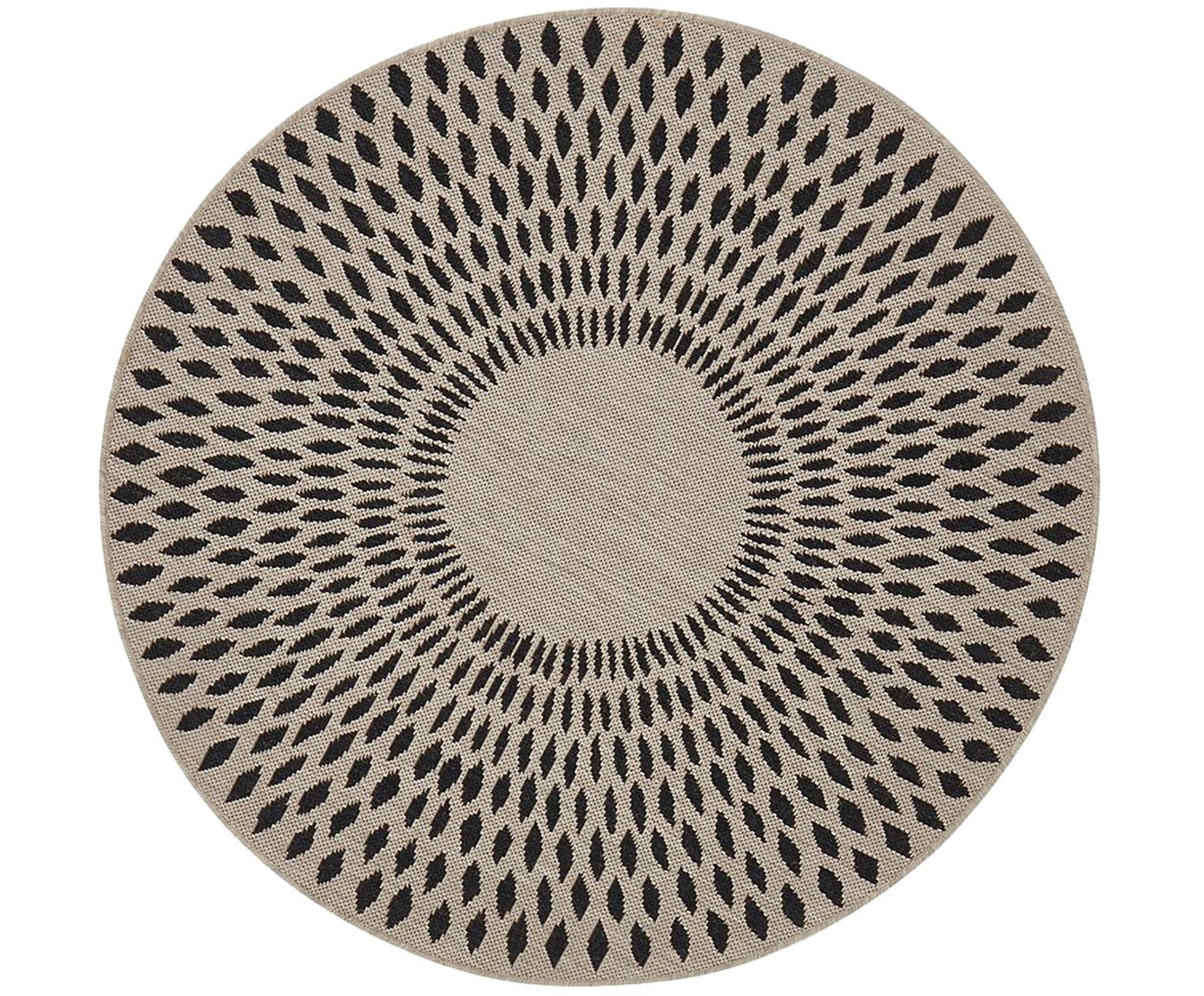 Alfombra redonda de interior/exterior Agna, 90%polipropileno, 10%poliéster, Color arena, gris antracita, Ø 120 cm (Tamaño S)