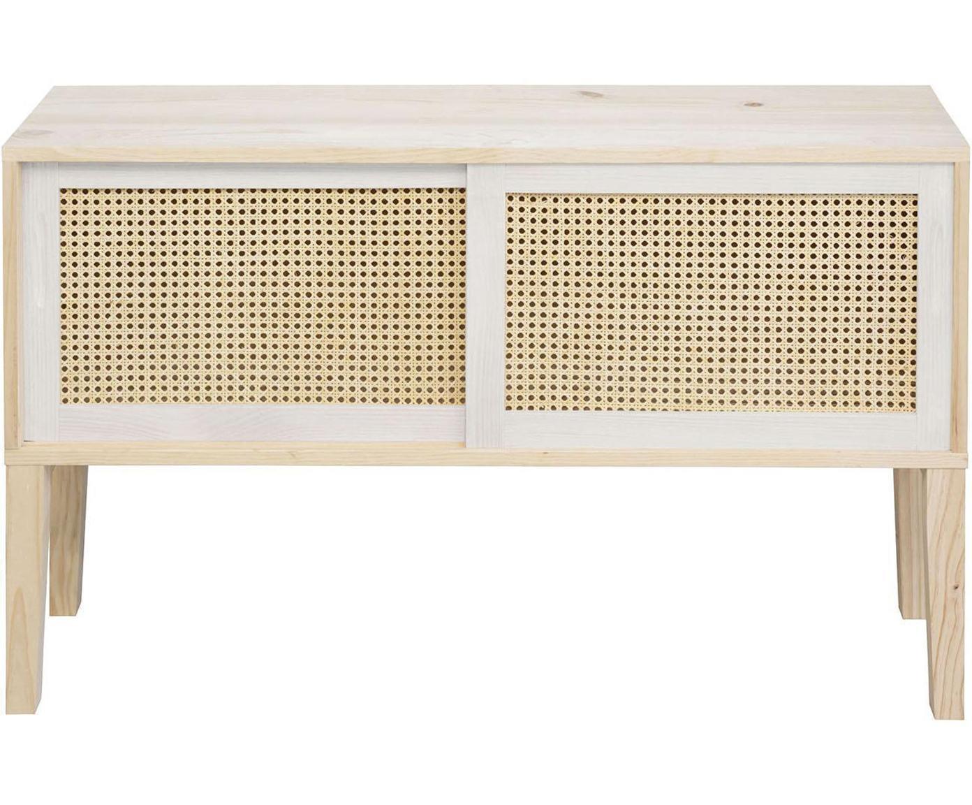 Aparador de madera de pino Rejilla, Blanco, An 115 x Al 68 cm