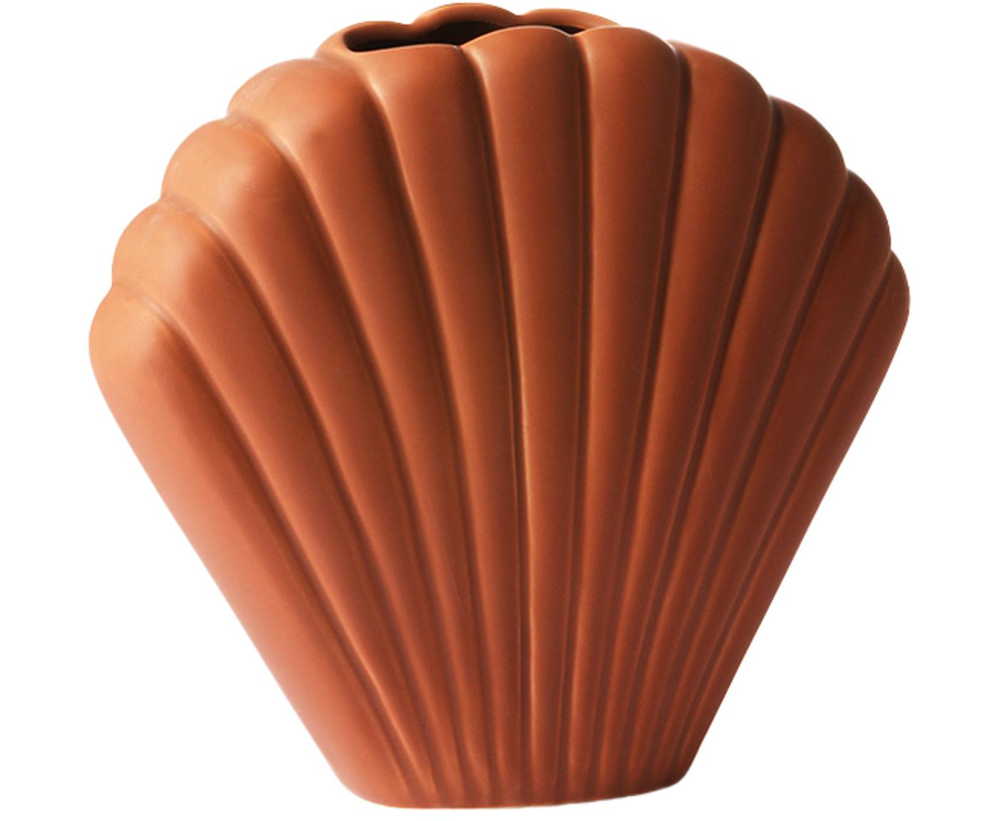 Vaas Shell van keramiek, Keramiek, Bruin, 18 x 20 cm