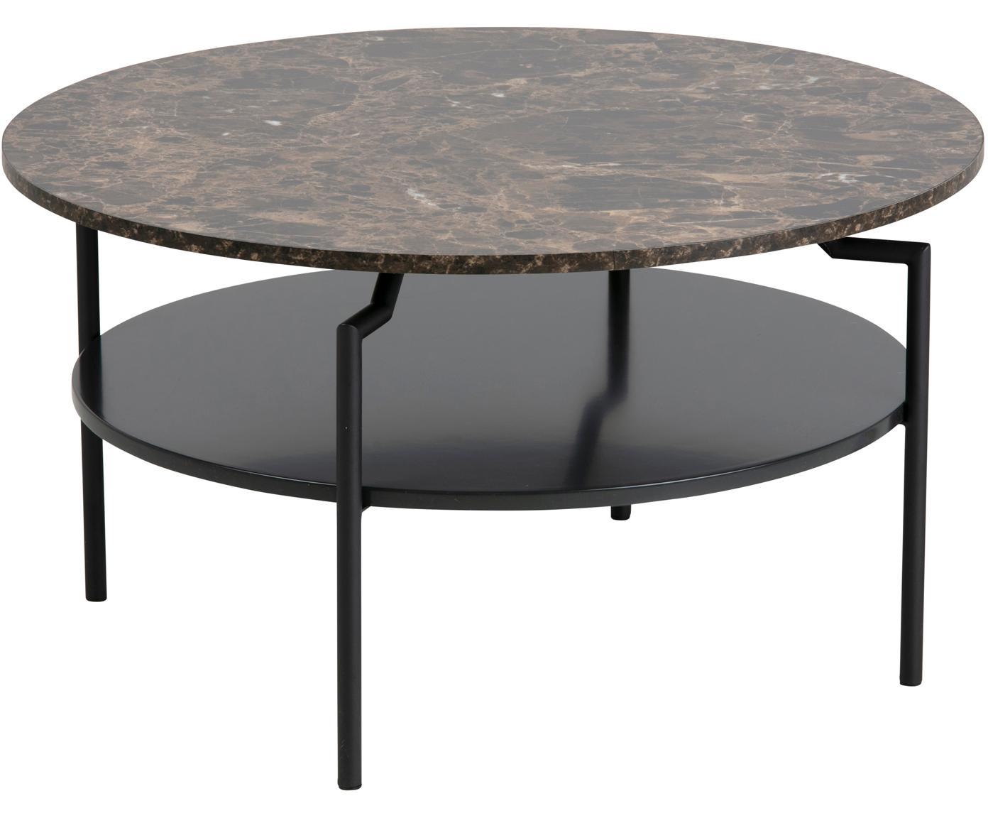 Stolik kawowy Goldington, Blat: płyta pilśniowa średniej , Nogi: metal malowany proszkowo, Brązowy, Ø 80 x W 45 cm