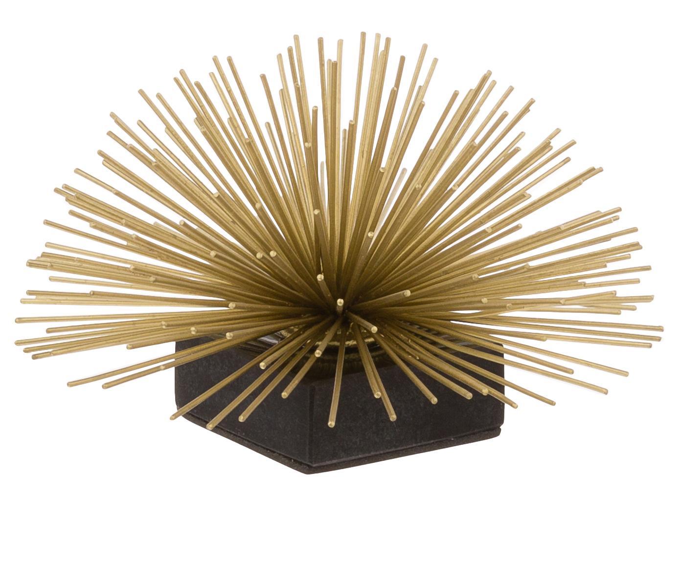Decoratief object Marburch, Object: metaal, Voet: marmer, Onderzijde: vilt, Object: goudkleurig. Voet: zwart marmer, Ø 16 x H 11 cm