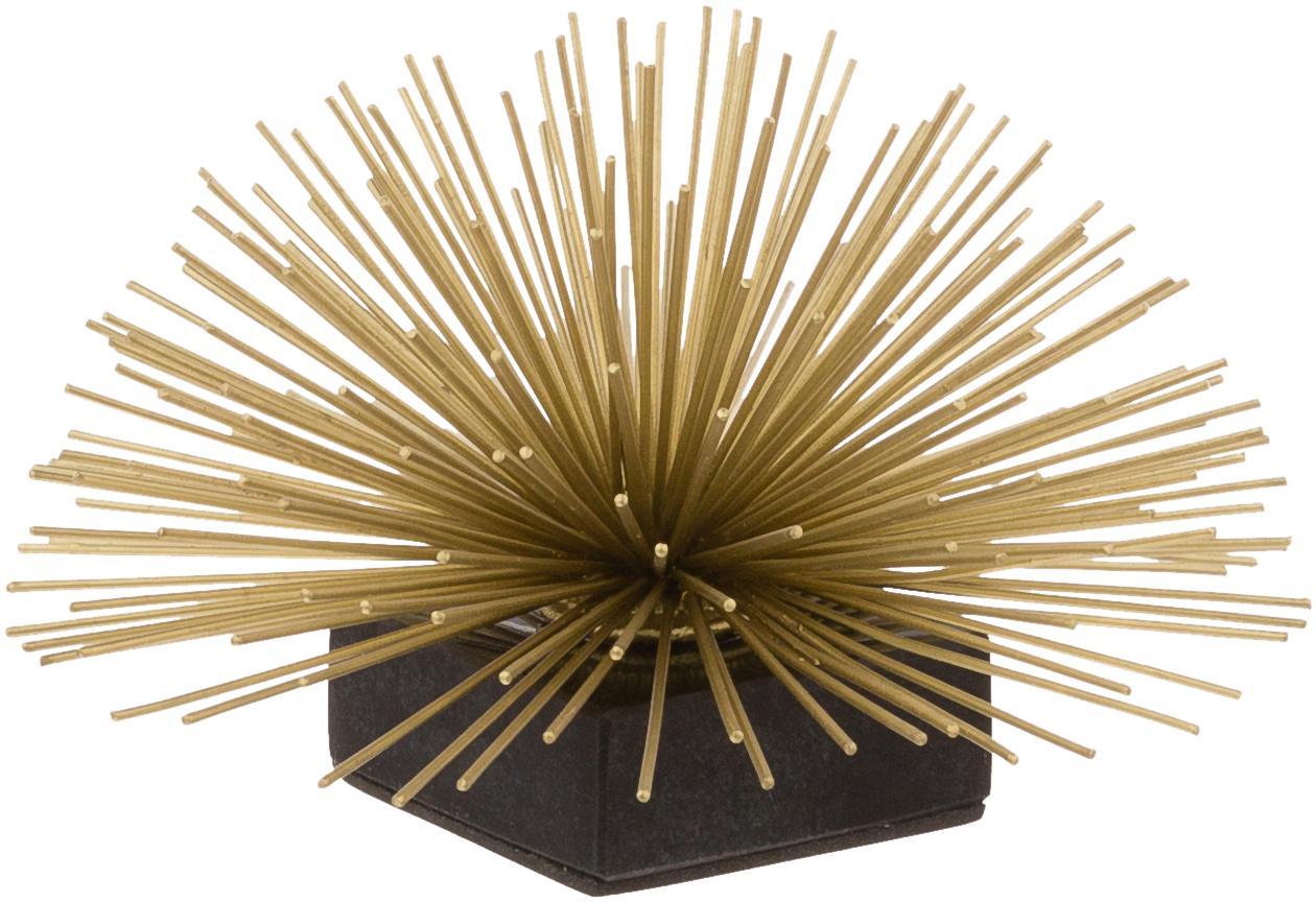 Oggetto da decorazione Marburch, Ornamento: metallo, Ornamento: dorato, Base: marmo nero, Ø 16 x A 11 cm
