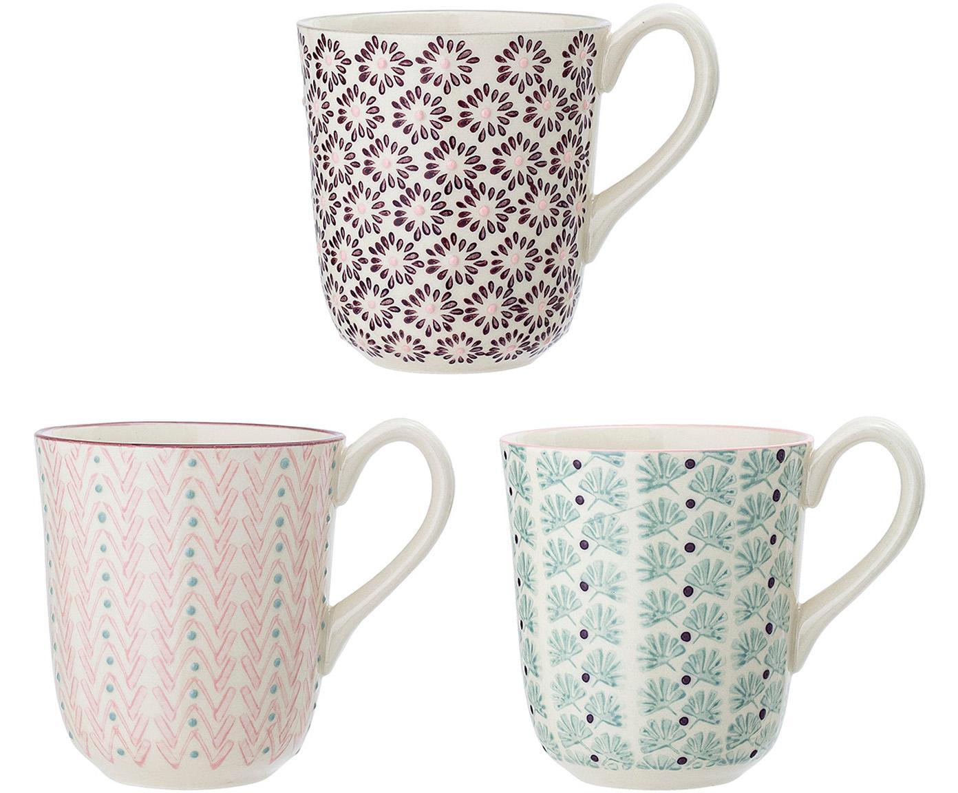 Tassen-Set Maya, 3-tlg., Steingut, Weiß, Grün, Rosa, Lila, Ø 9 x H 10 cm
