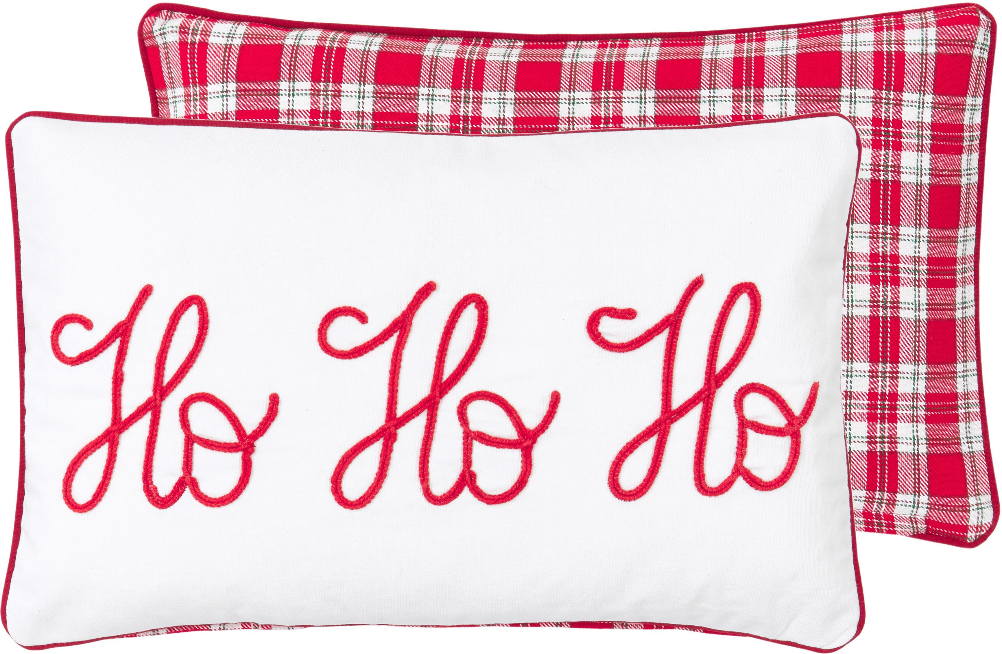 Federa arredo reversibile ricamata Santa, 100% cotone, Beige, rosso Bordatura: rosso, Larg. 30 x Lung. 50 cm