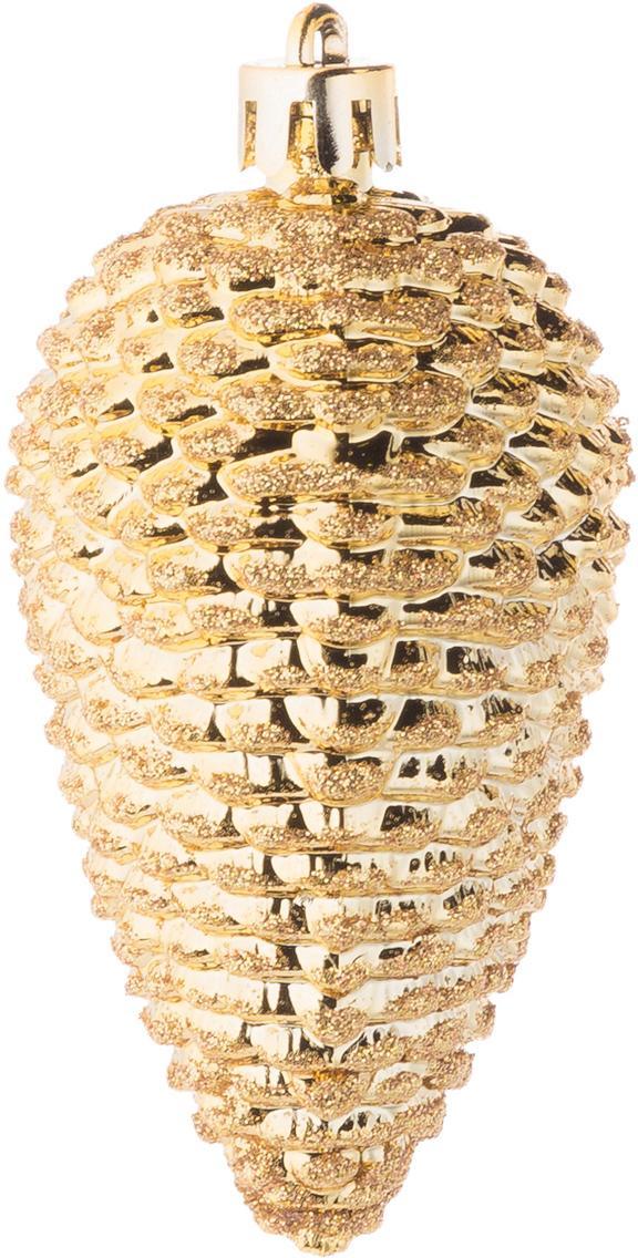 Adonos navideños Kim, 6uds., Plástico, Dorado, Ø 5 x Al 8 cm