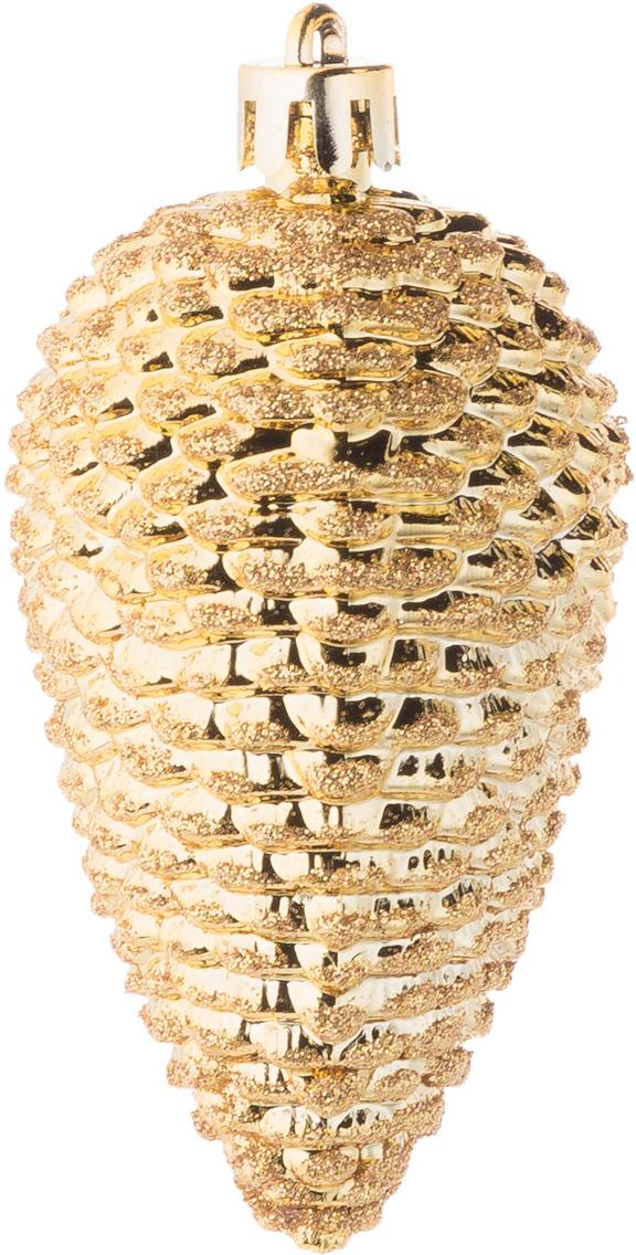 Weihnachtszapfen Kim, 6 Stück, Kunststoff, Goldfarben, Ø 5 x H 8 cm