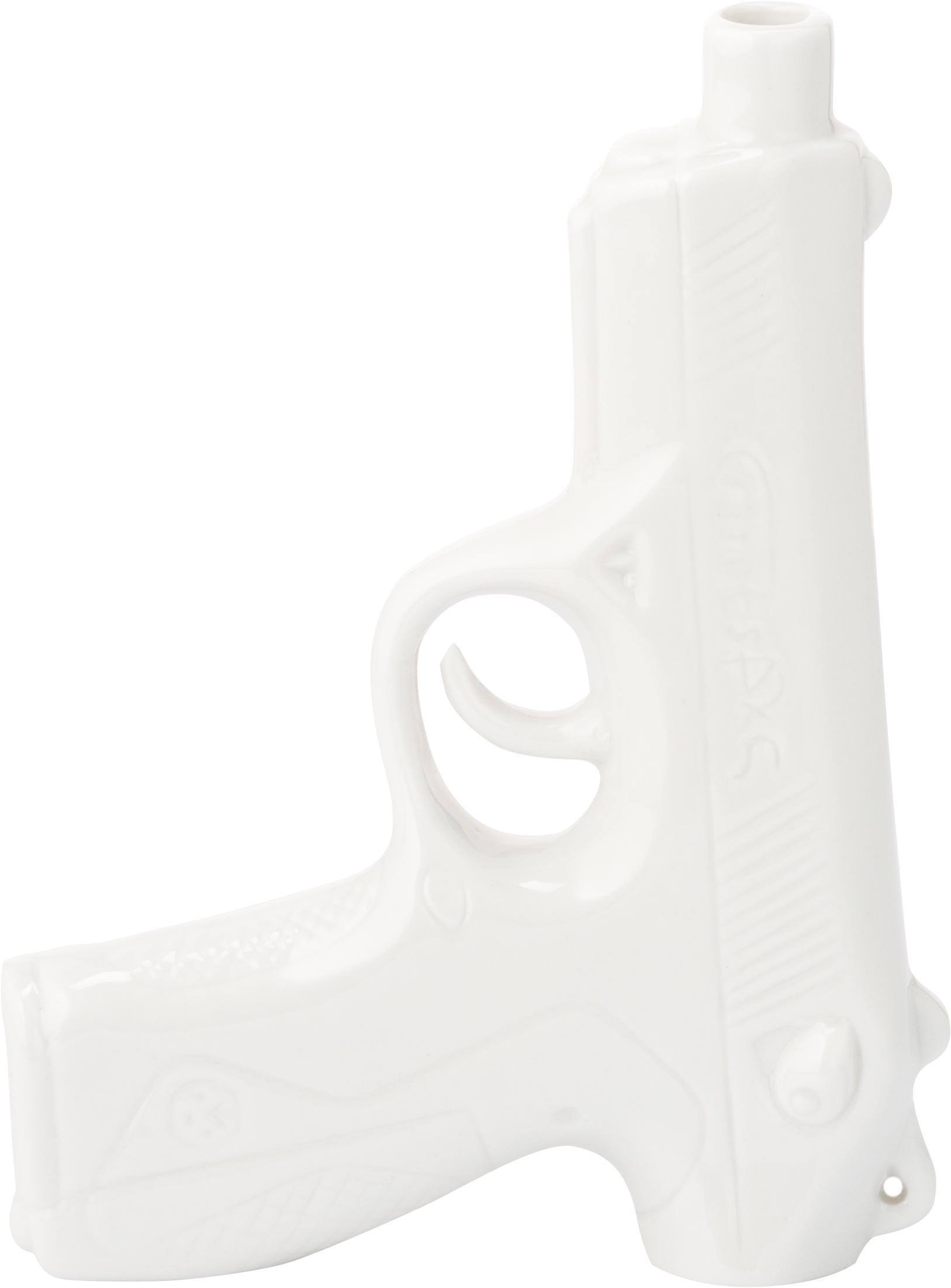 Kleine Porzellan-Vase Gun, Porzellan, glasiert, Weiß, 12 x 17 cm