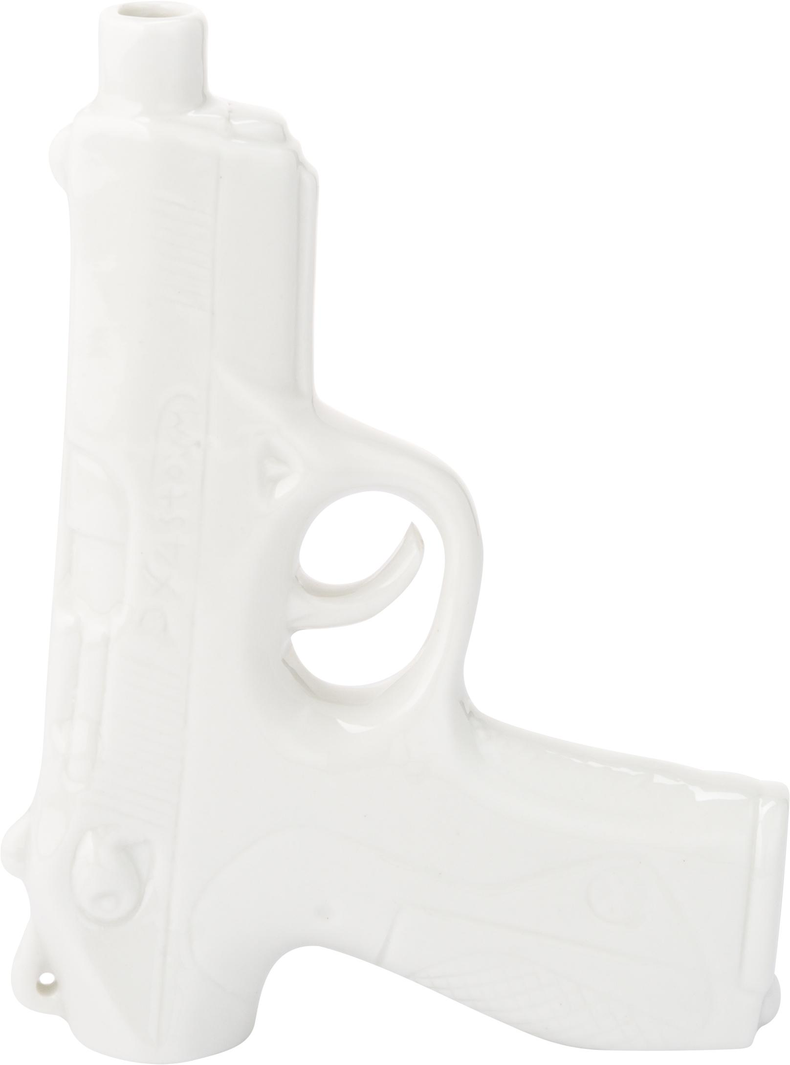 Vaso in porcellana Gun, Porcellana smaltata, Bianco, Larg. 12 x Alt. 17 cm