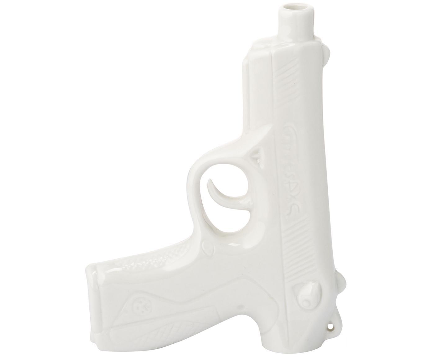Kleine Porzellan-Vase Gun, Porzellan, glasiert, Weiss, 12 x 17 cm